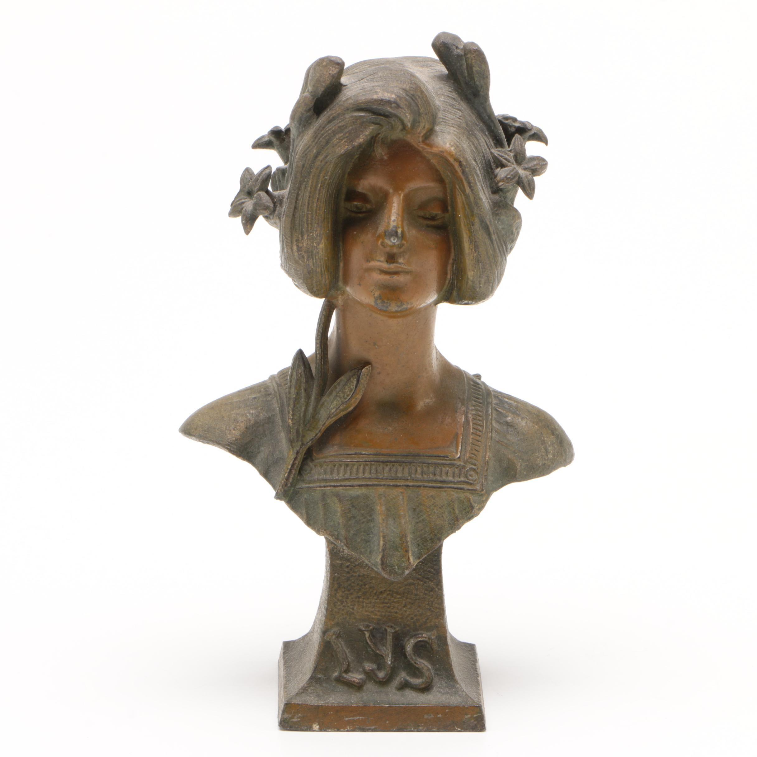 Art Nouveau Style Cast Metal Bust, Early 20th Century