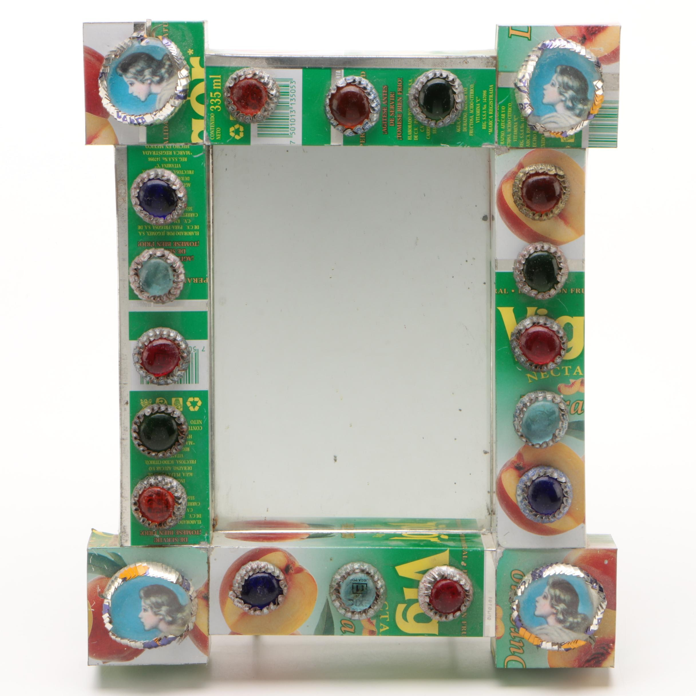 Mexican Vigor Peach Juice Can Frame Mirror with Bottle Cap Cabochons