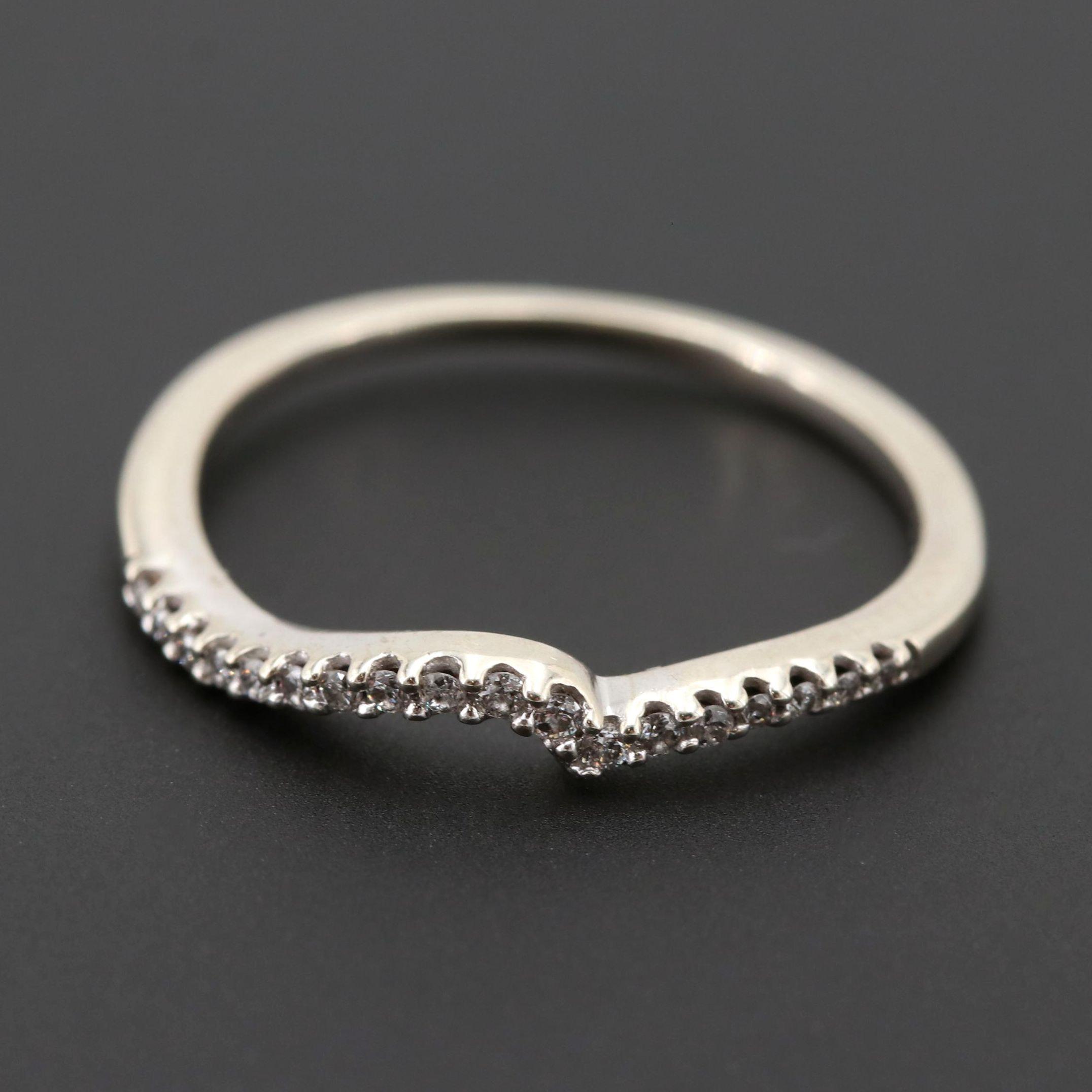 10K White Gold Diamond Wave Ring