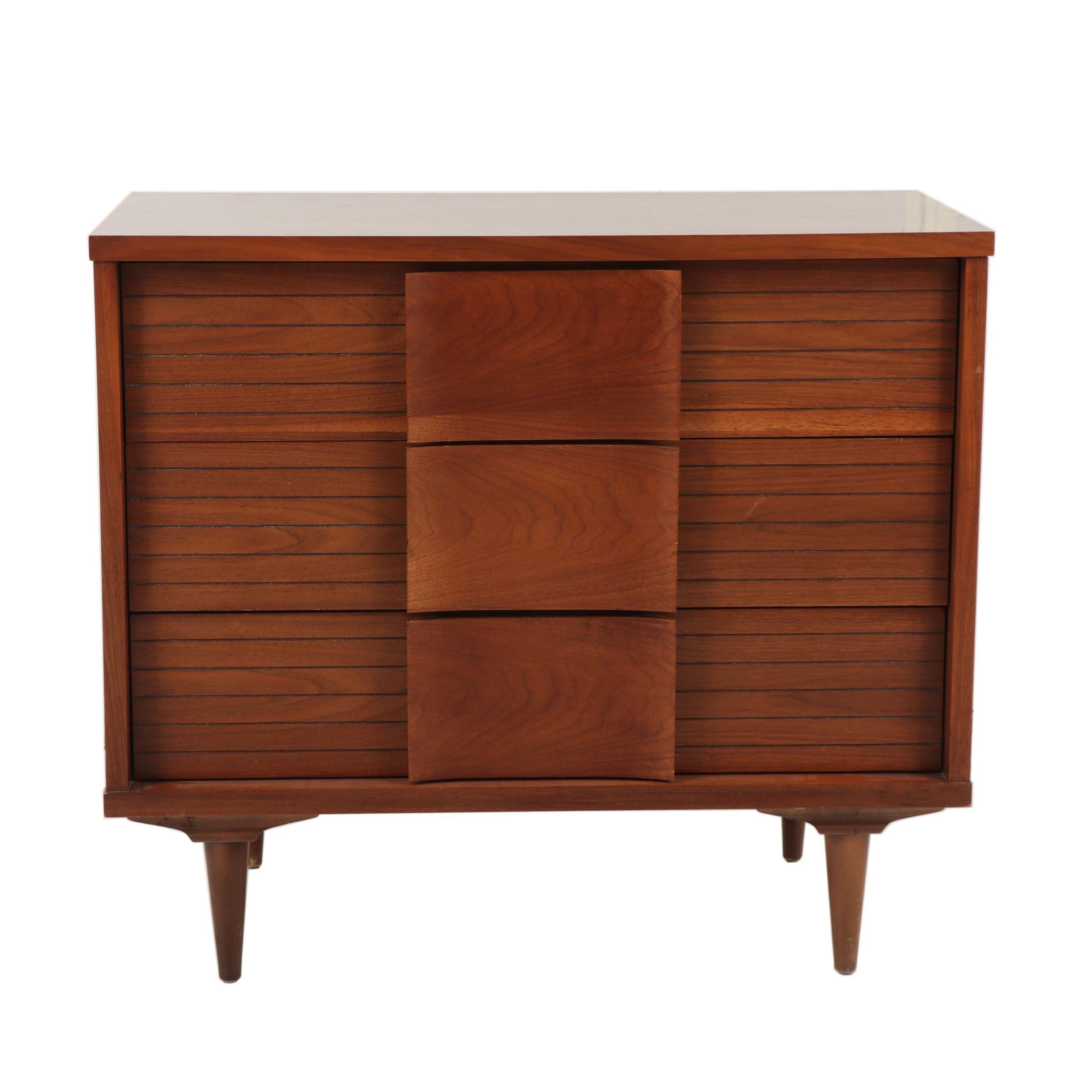 Wooden Three Drawer Chest, Mid Century
