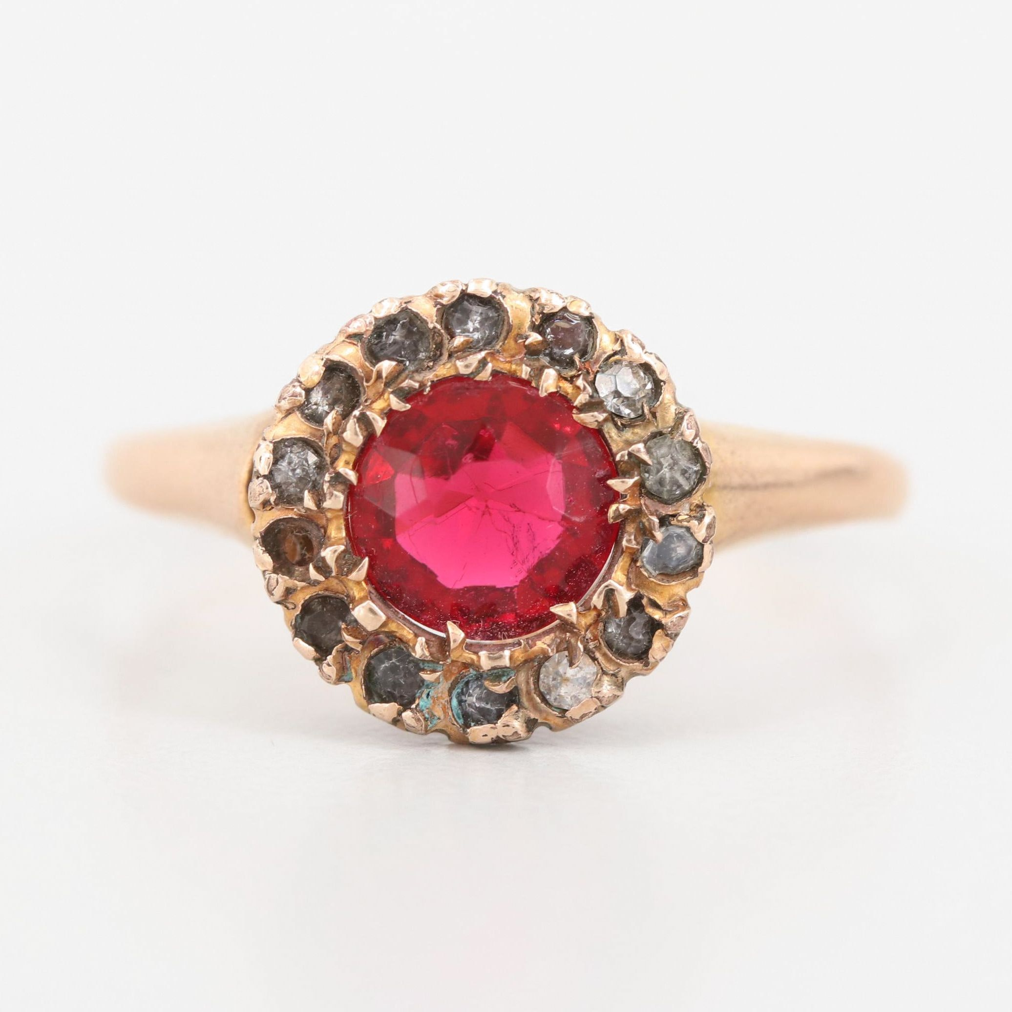10K Rose Gold Colored Glass Ring
