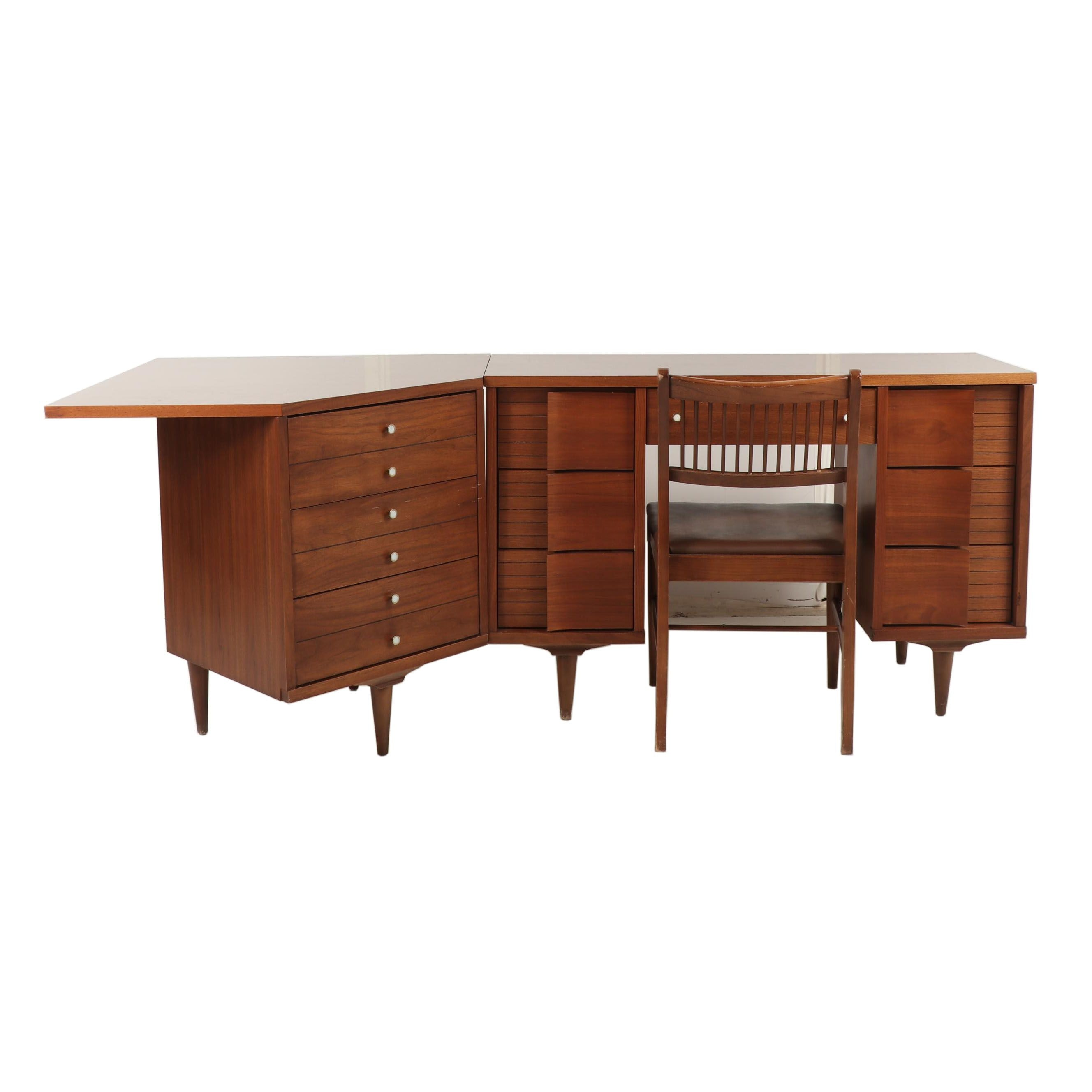 Wooden Corner Desk with Chair, Mid Century Modern
