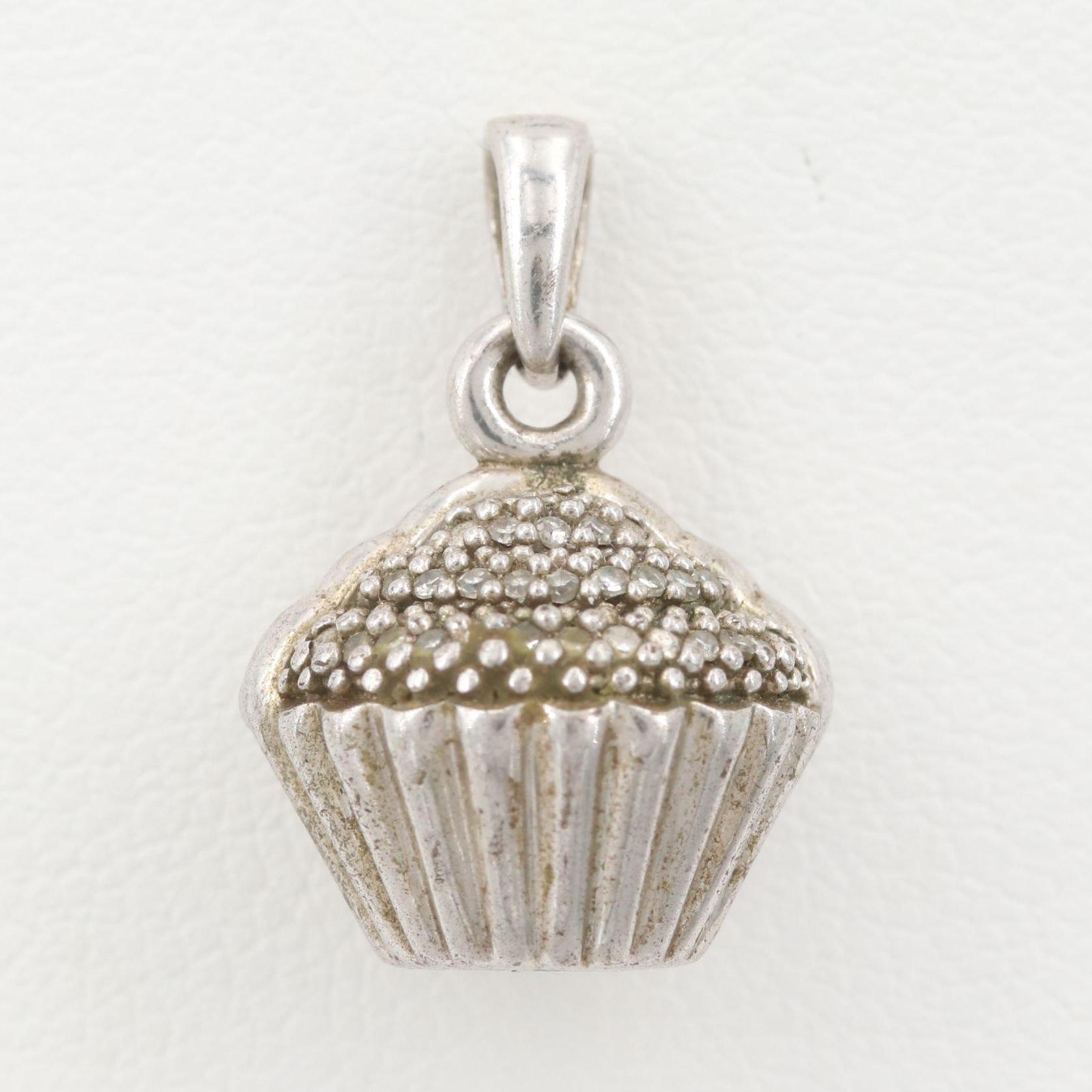 Sterling Silver Diamond Cupcake Pendant