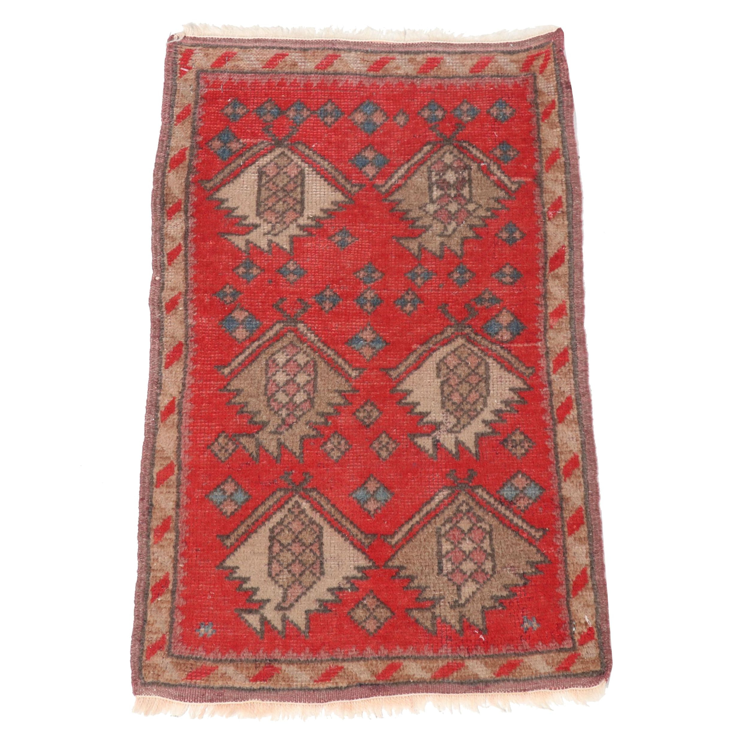 Hand-Knotted Turkish Oushak Floor Mat