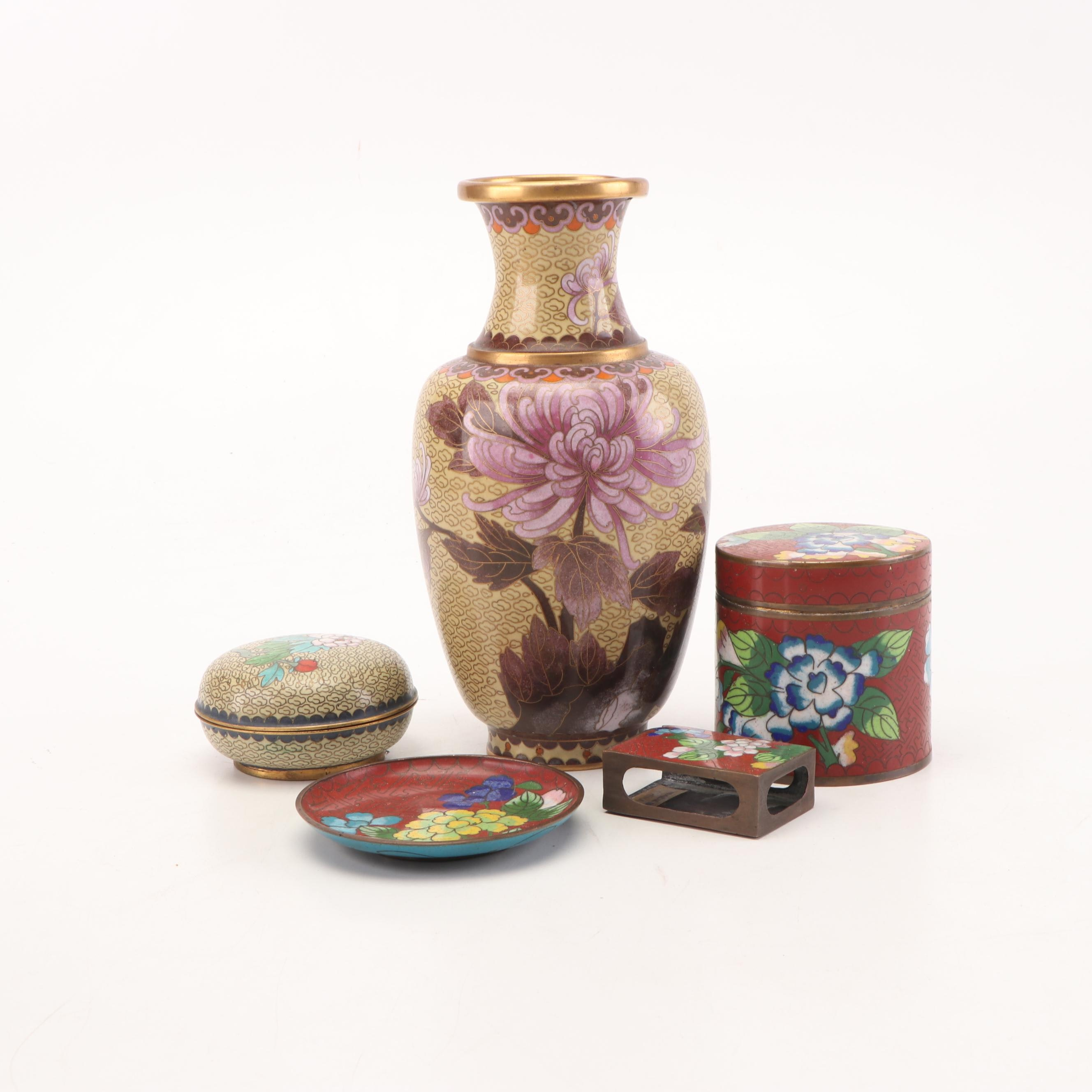 Chinese Cloisonné Vase and Decor