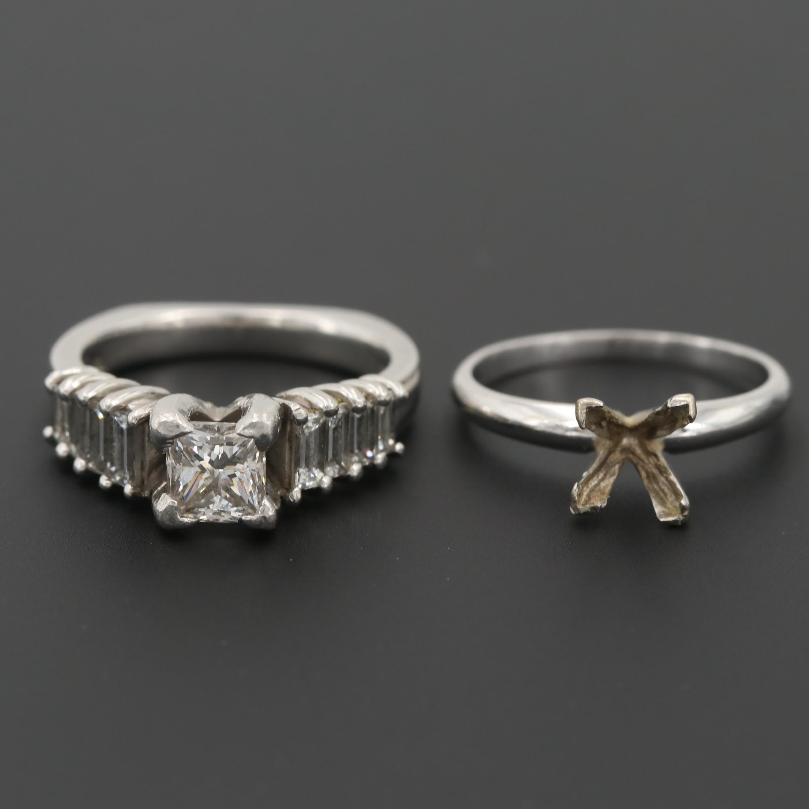 Platinum 1.92 CTW Diamond Ring and a 14K White Gold Mounting