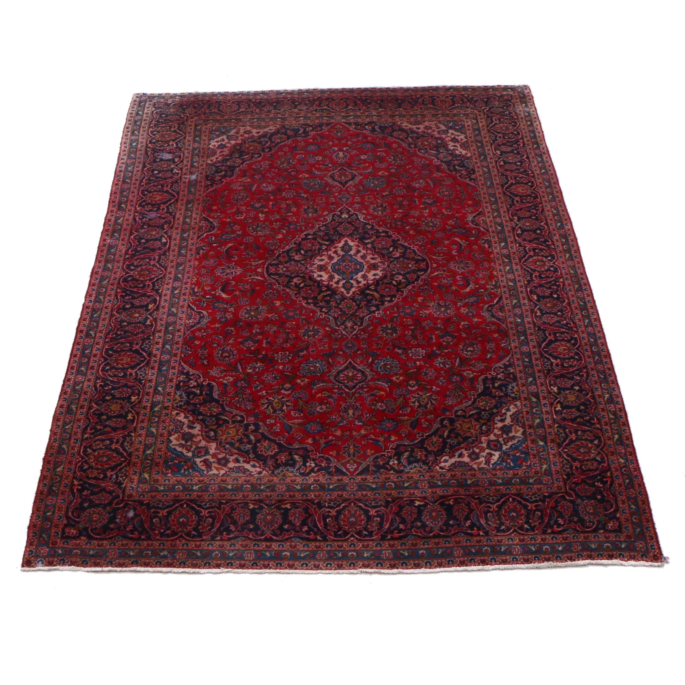 Hand-Knotted Persian Ardekan Kashan Wool Rug