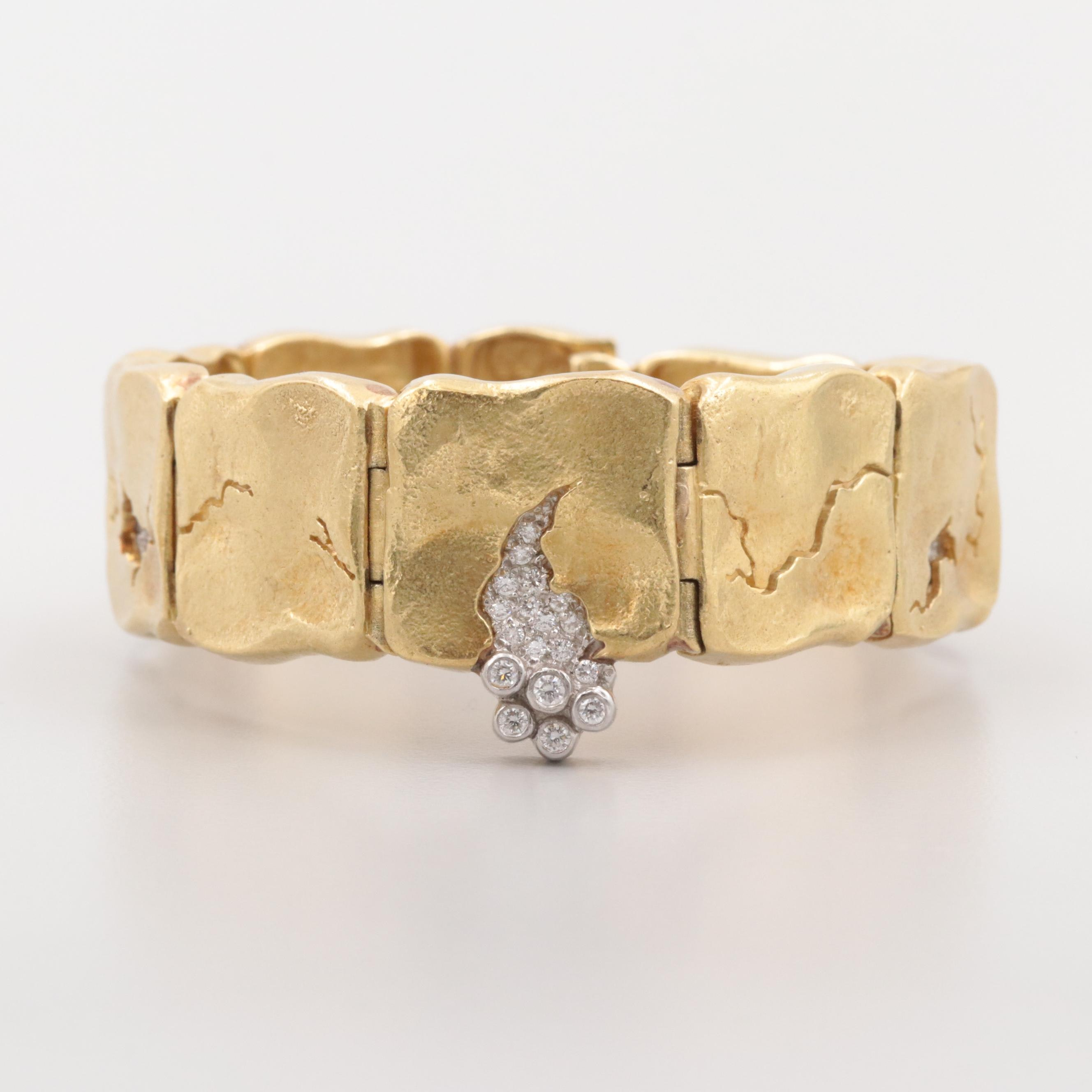 "Seidengang ""Odyssey"" Collection 18K Yellow Gold and Platinum Diamond Bracelet"