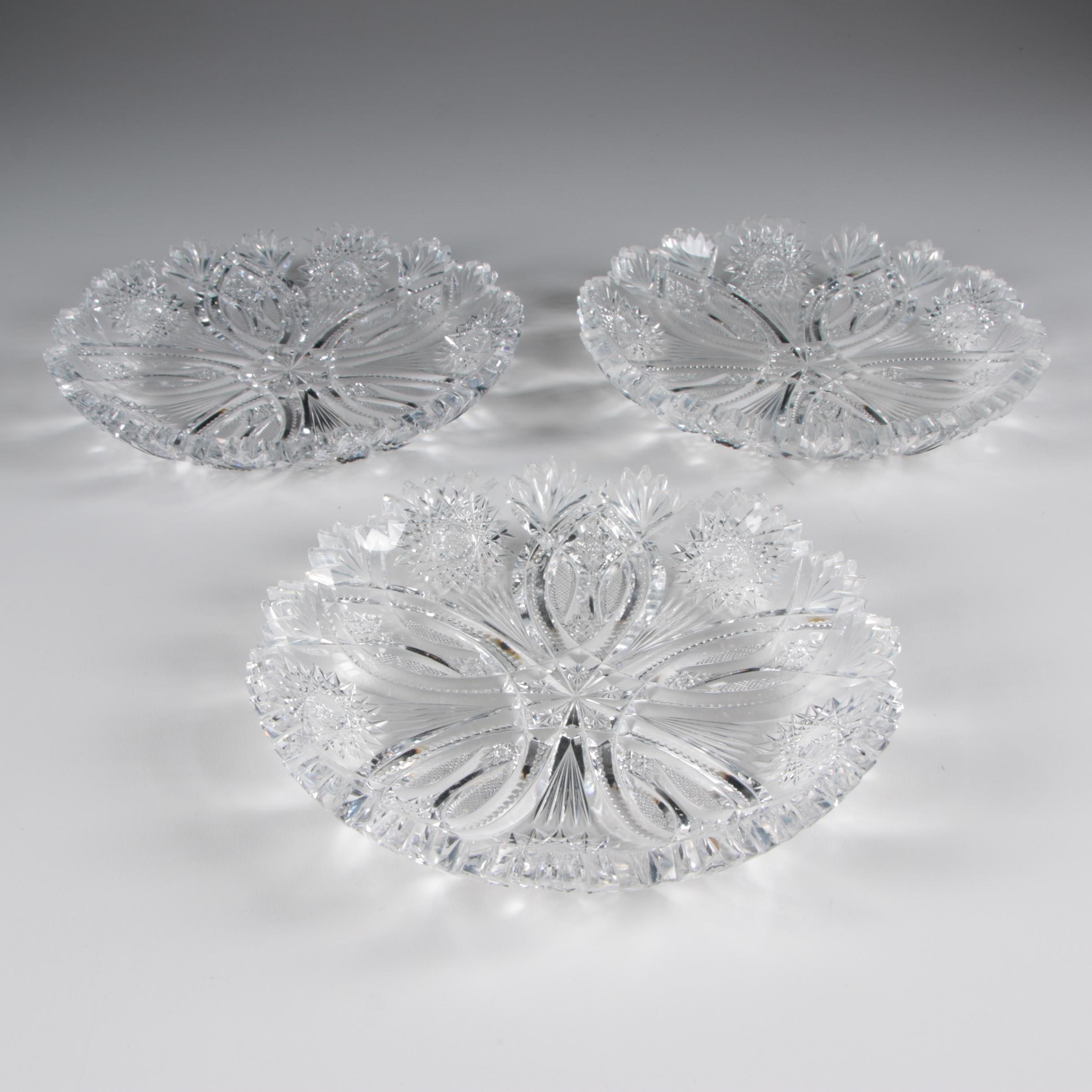 American Brilliant Cut Glass Bowls, Late 19th/Early 20th Century