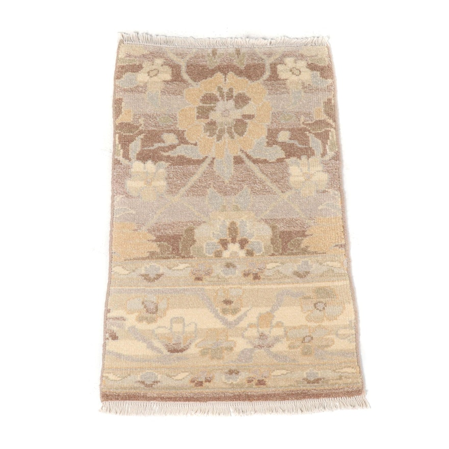 Hand-Knotted Indian Oushak Wool Floor Mat