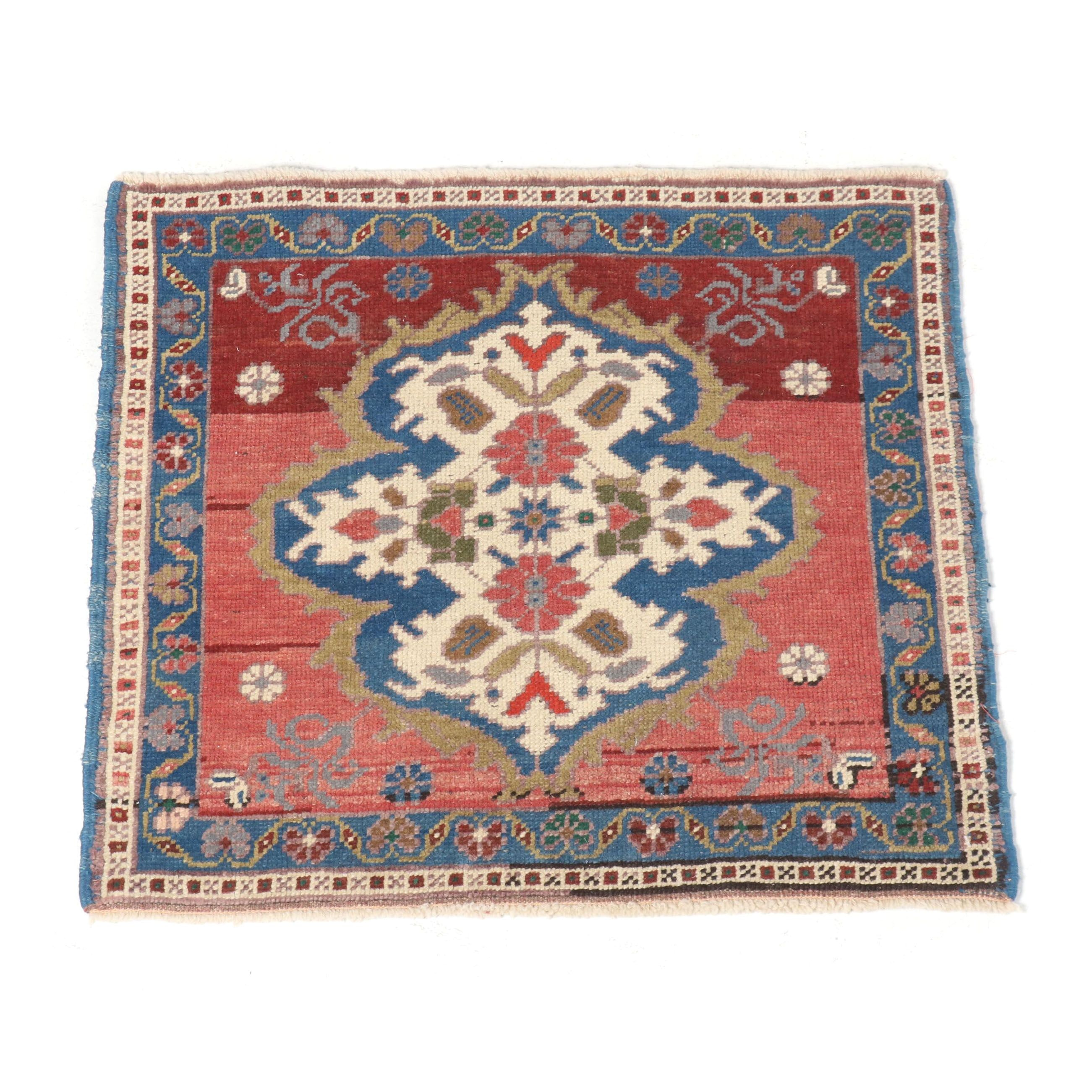 Hand-Knotted Turkish Oushak Wool Floor Mat
