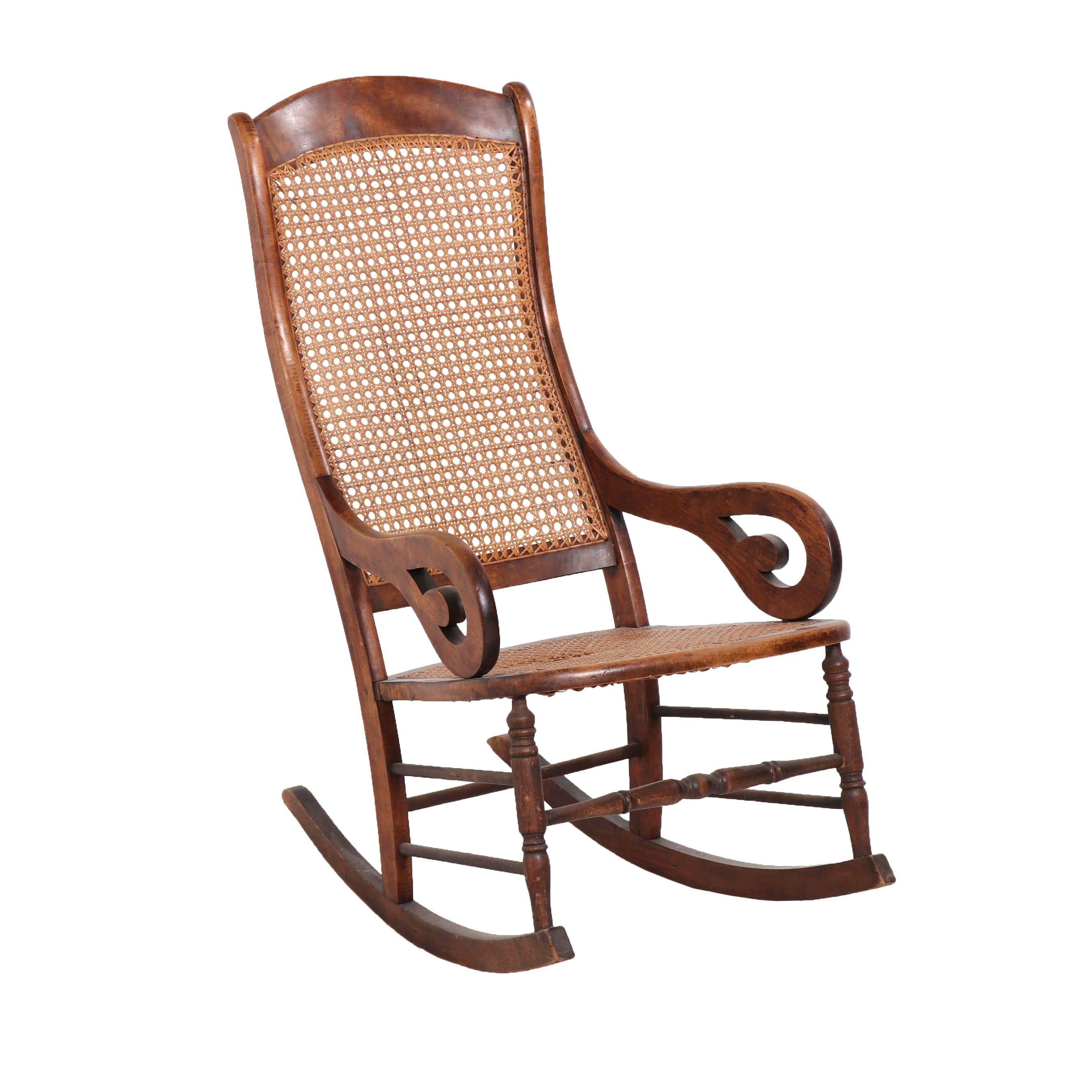 Vintage Wood Cane Back Rocking Chair