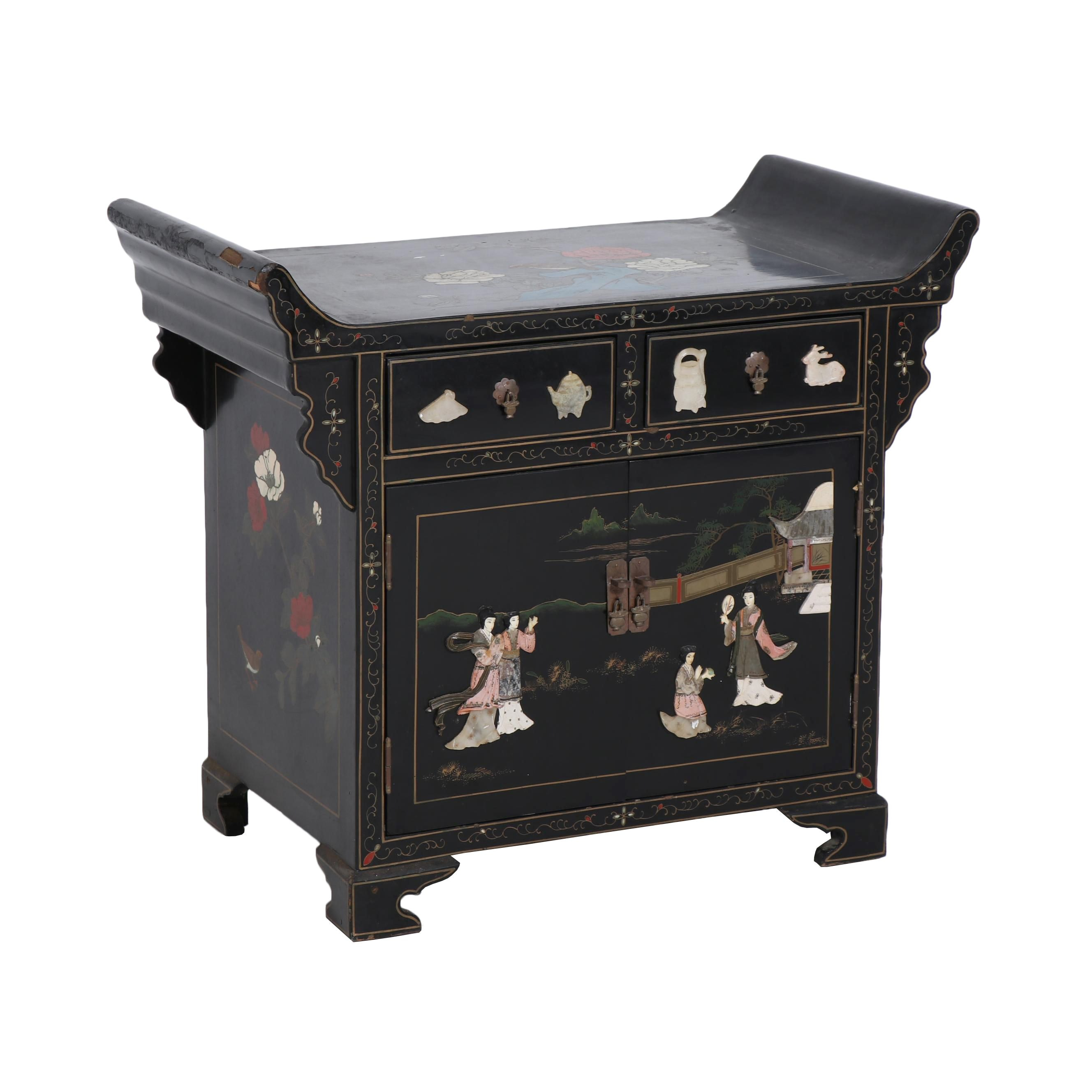 Chinese Lacquer Side Table with Inlaid Decoration
