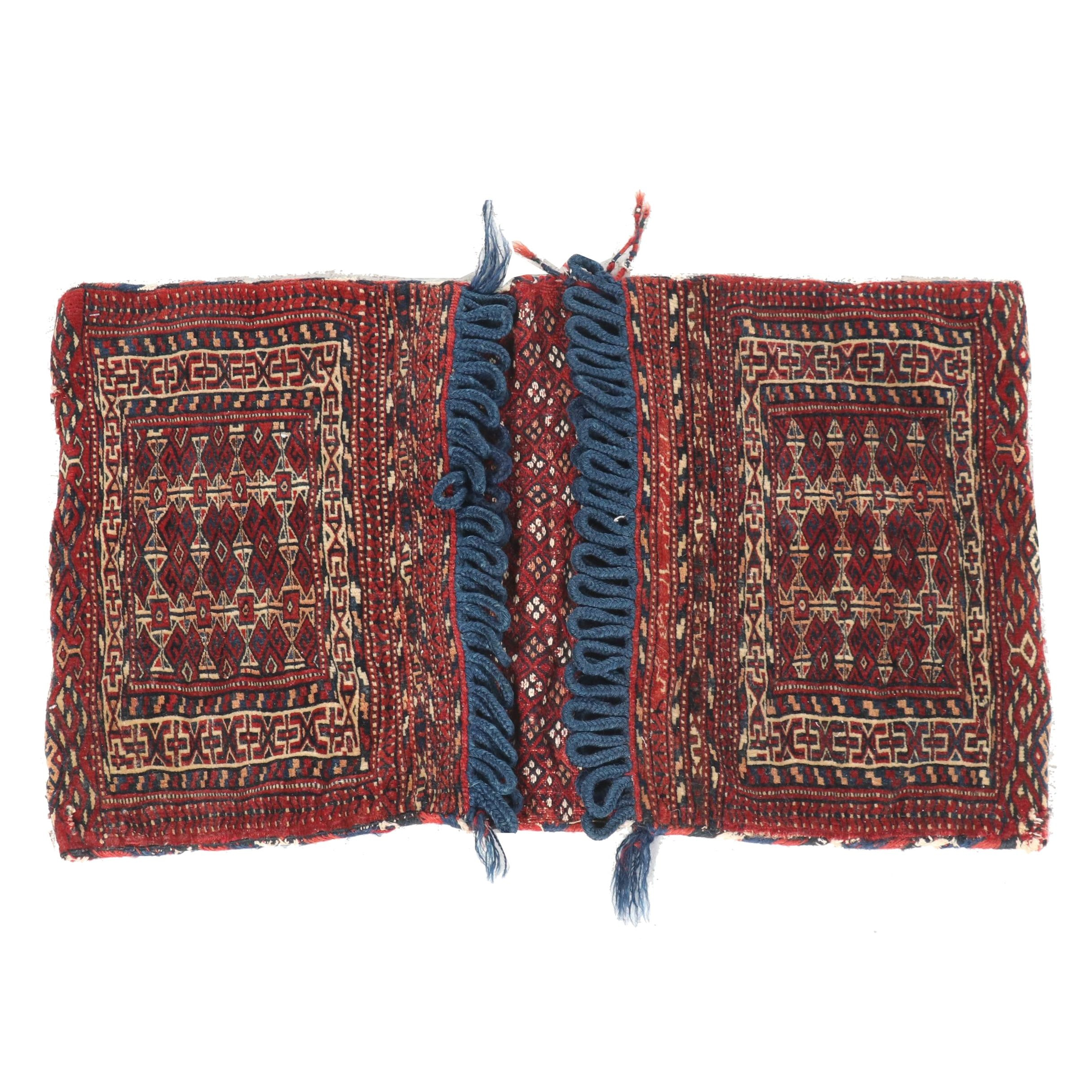 Hand-Knotted Persian Wool Saddle Bag