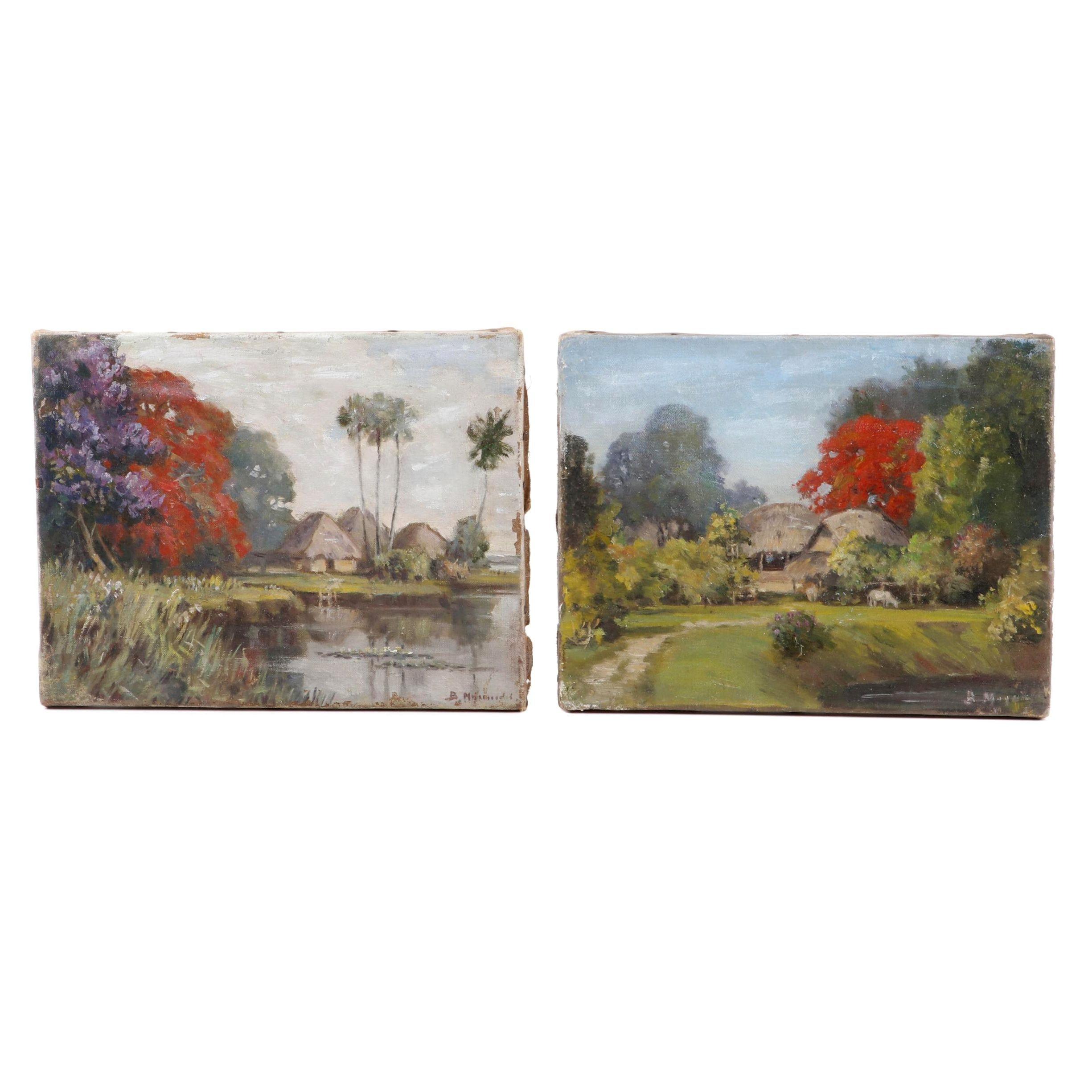 B. Majumdar Indian/Bangladeshi Landscape Oil Paintings