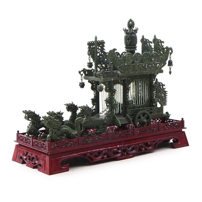 Chinese Carved Nephrite Dragon Carriage Sculpture
