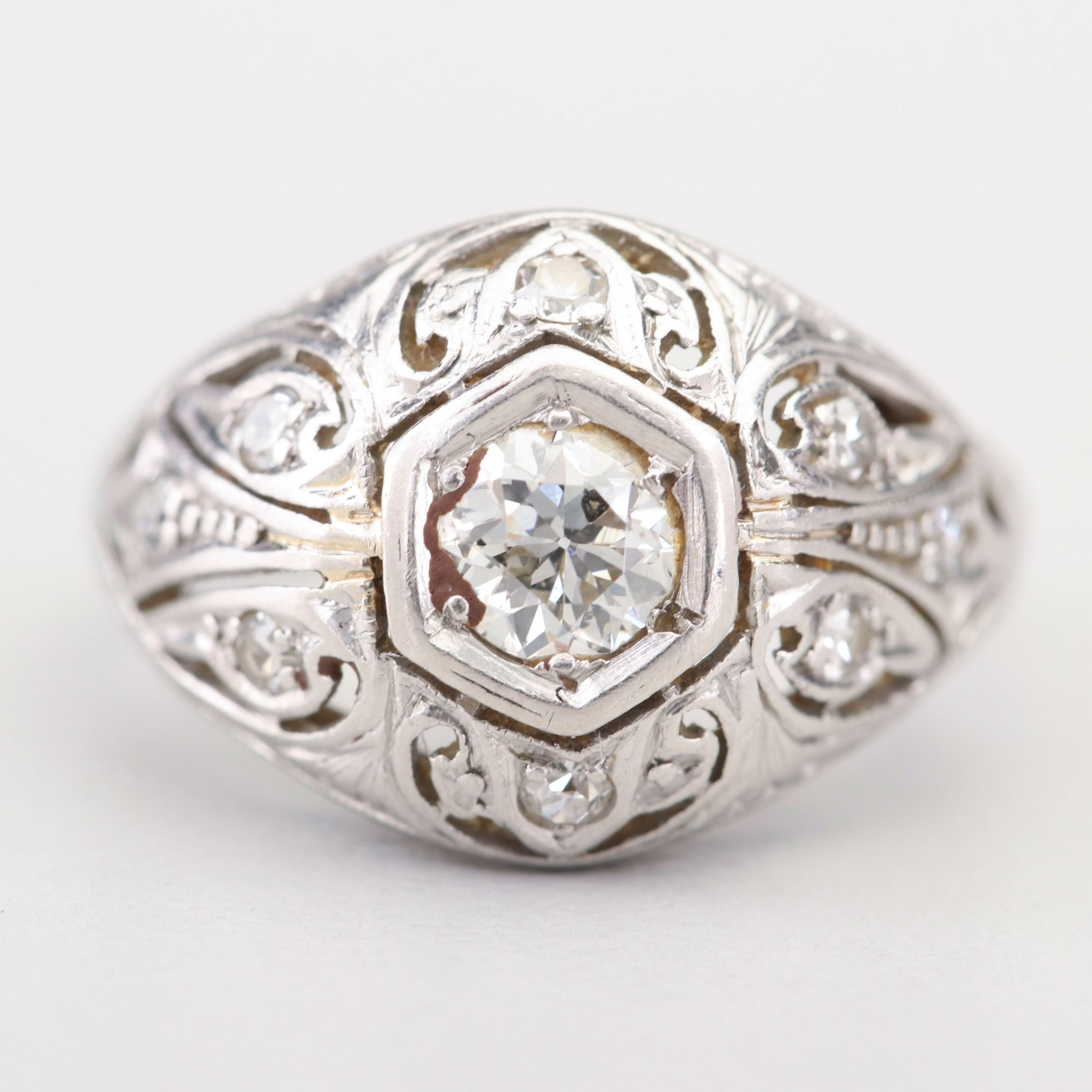 Antique Platinum Old European Cut and Single Cut Diamond Ring