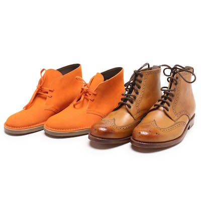 5f3589c8042 Men s Grenson Leather Wingtip Boots and Clarks Orange Busharce 2 Chukka  Boots