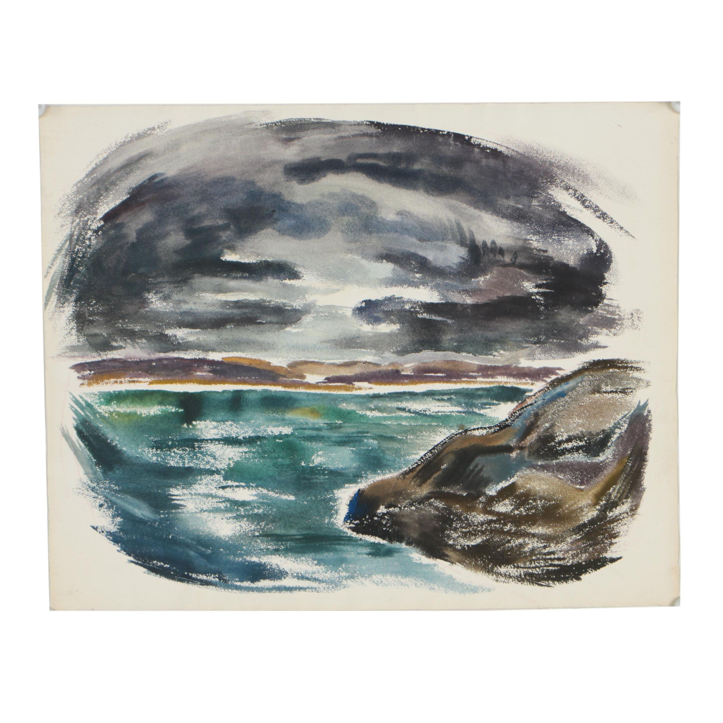 Arthur Helwig Seascape Watercolor Painting