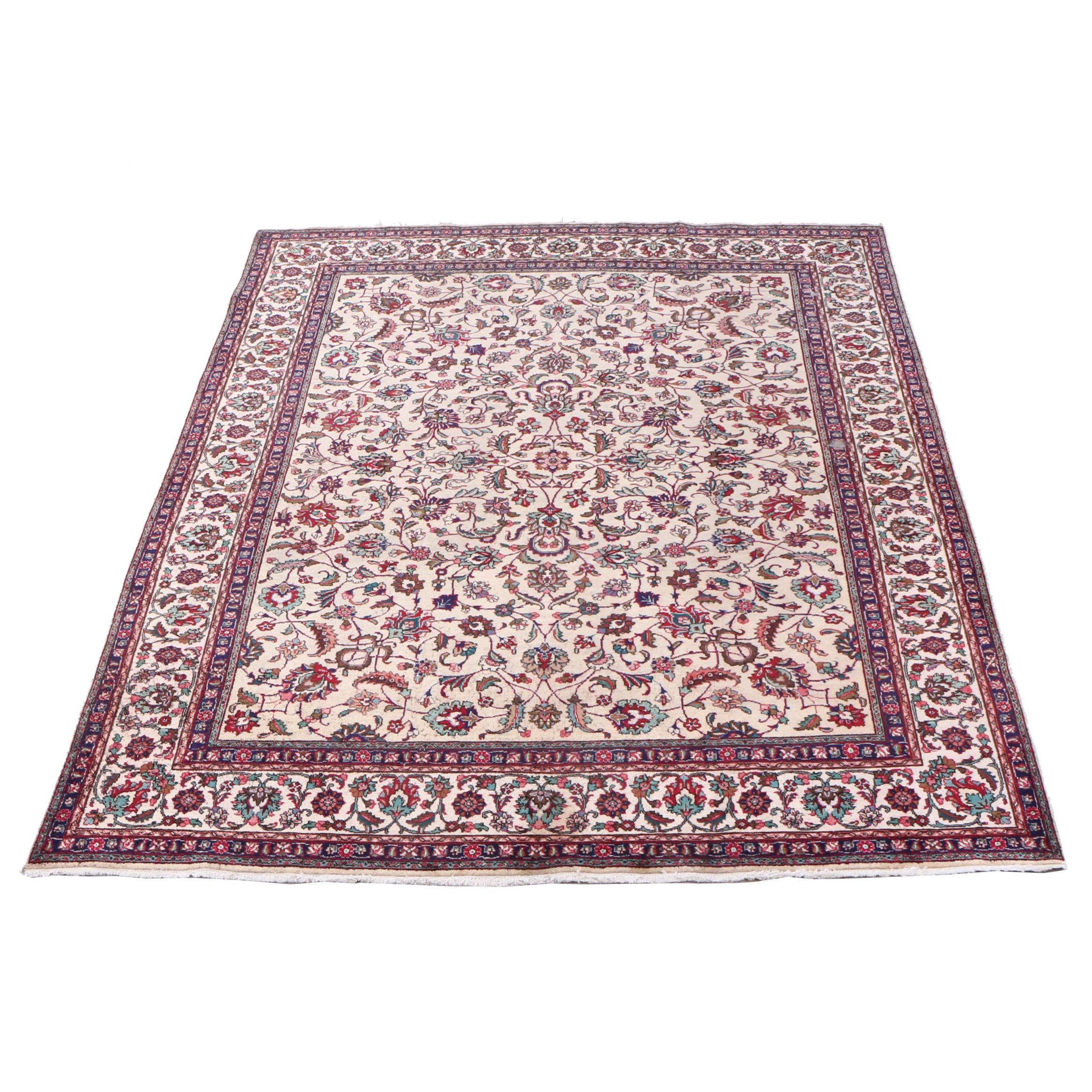 Hand-Knotted Indo-Persian Kashan Wool Room Sized Rug