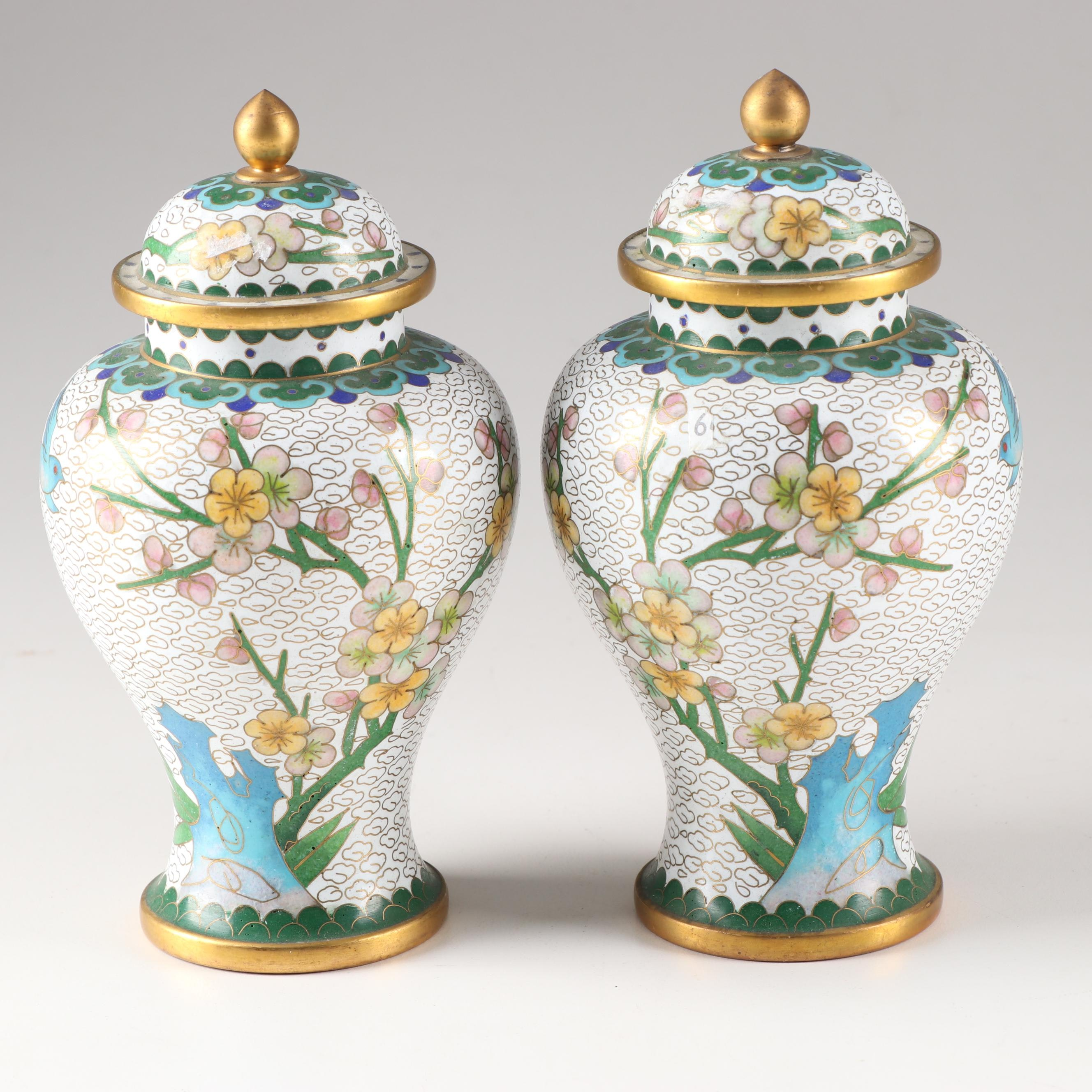 Chinese Cloisonné Lidded Ginger Jars