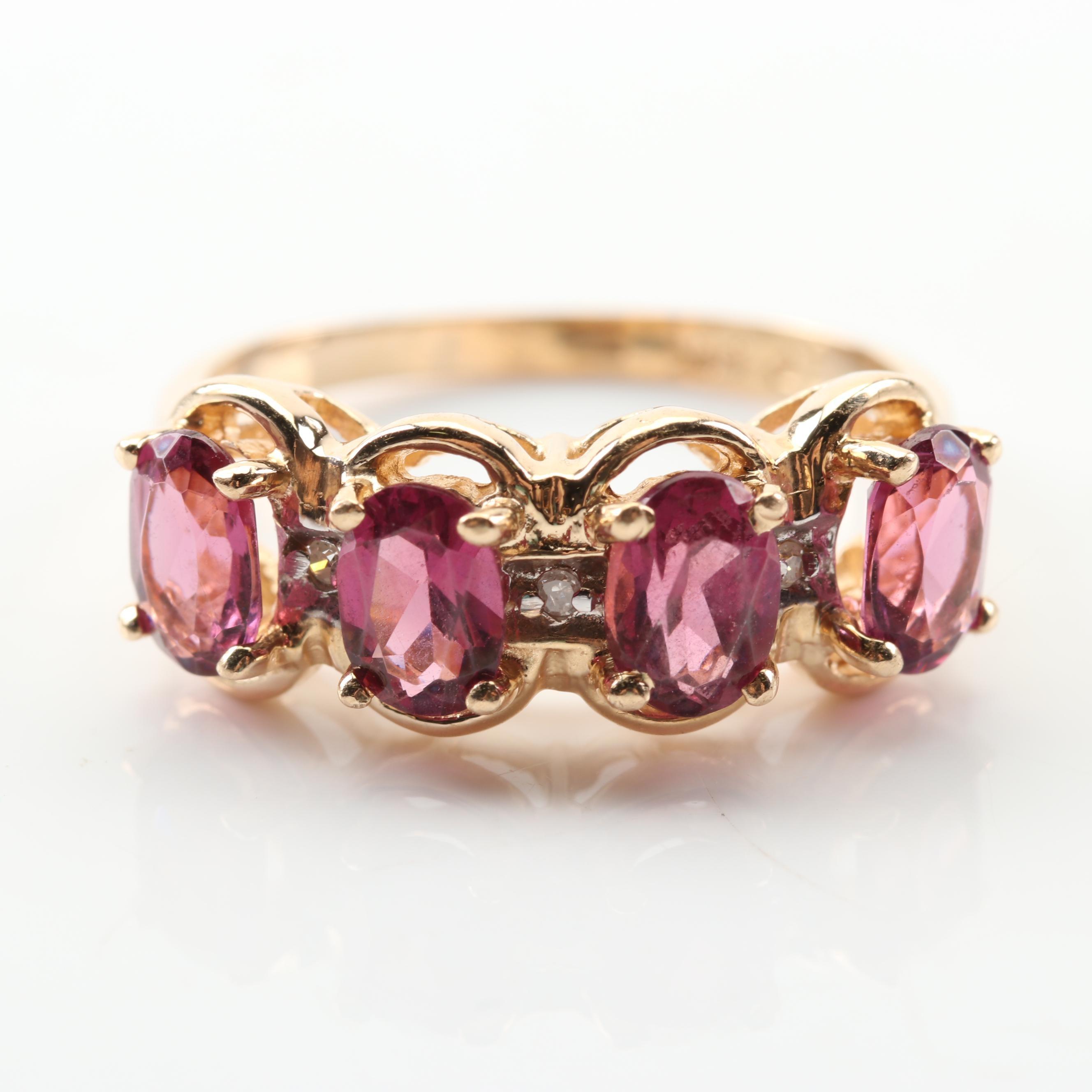 14K Yellow Gold 2.36 CTW Garnet and Diamond Ring
