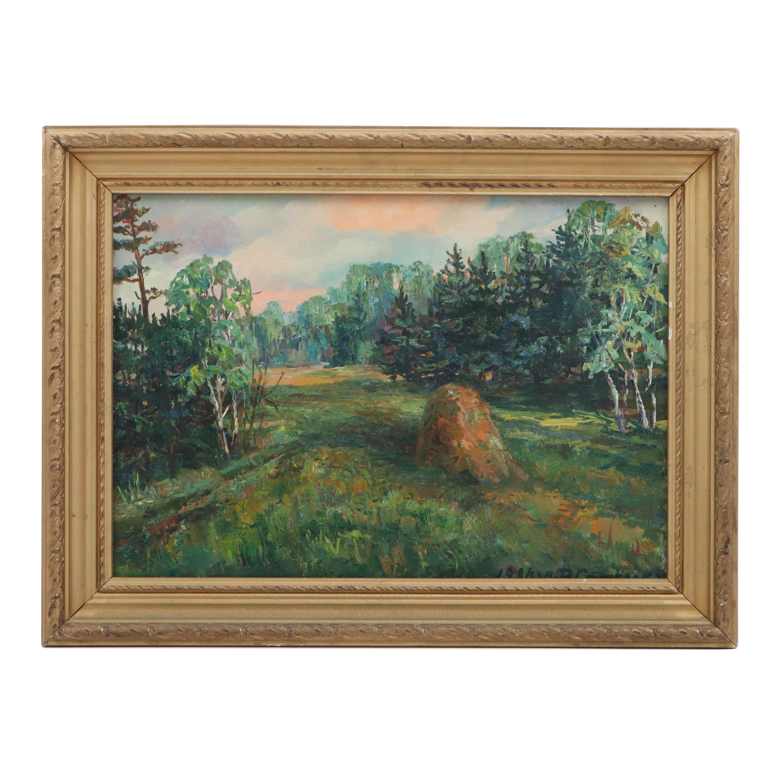 "Russian 1991 Landscape Oil Painting ""Marfino Summer"""