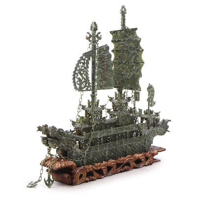 Chinese Carved Nephrite Sculpture of a Dragon Ship