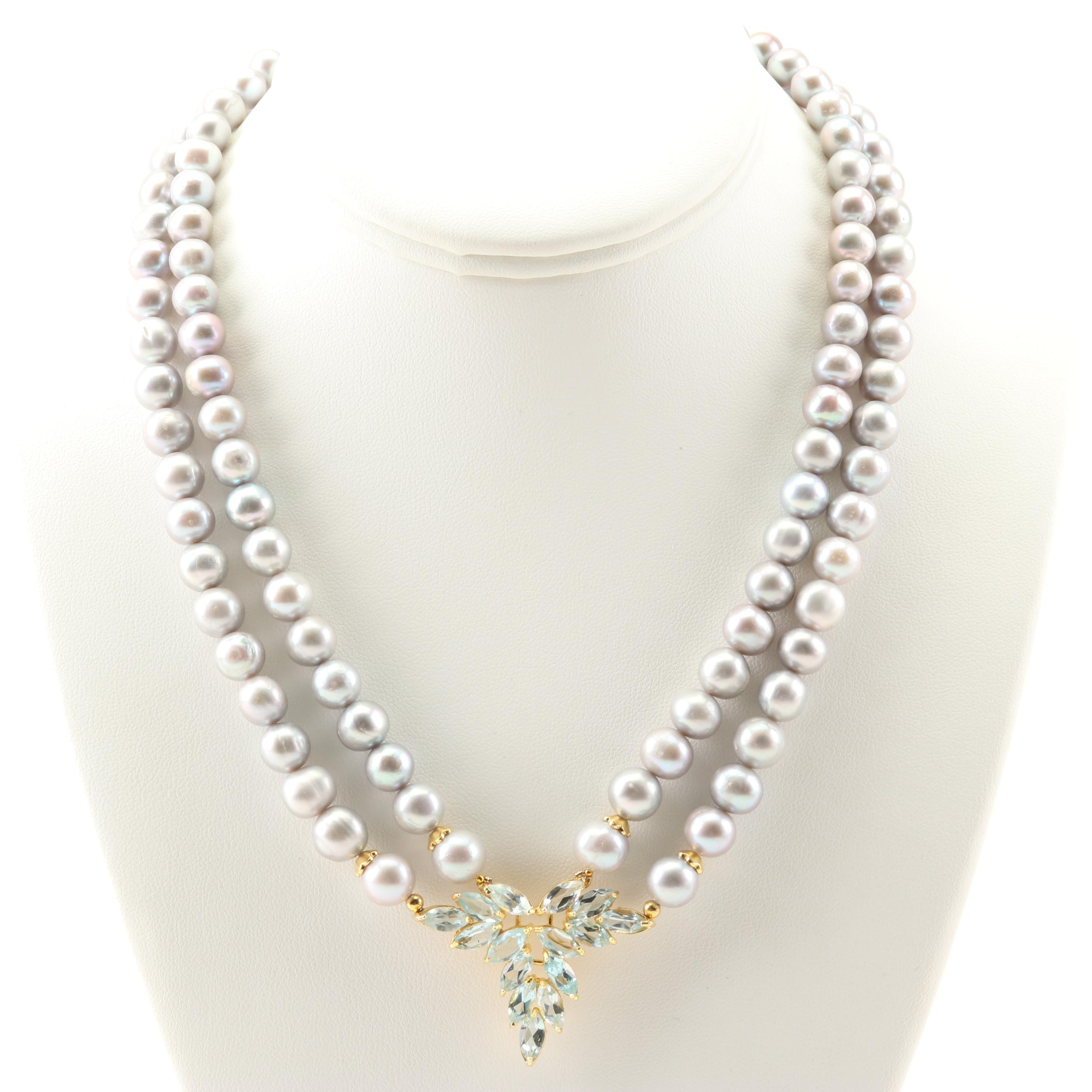 Sterling Silver Freshwater Pearl 10.56 CTW Blue Topaz Ruby Necklace