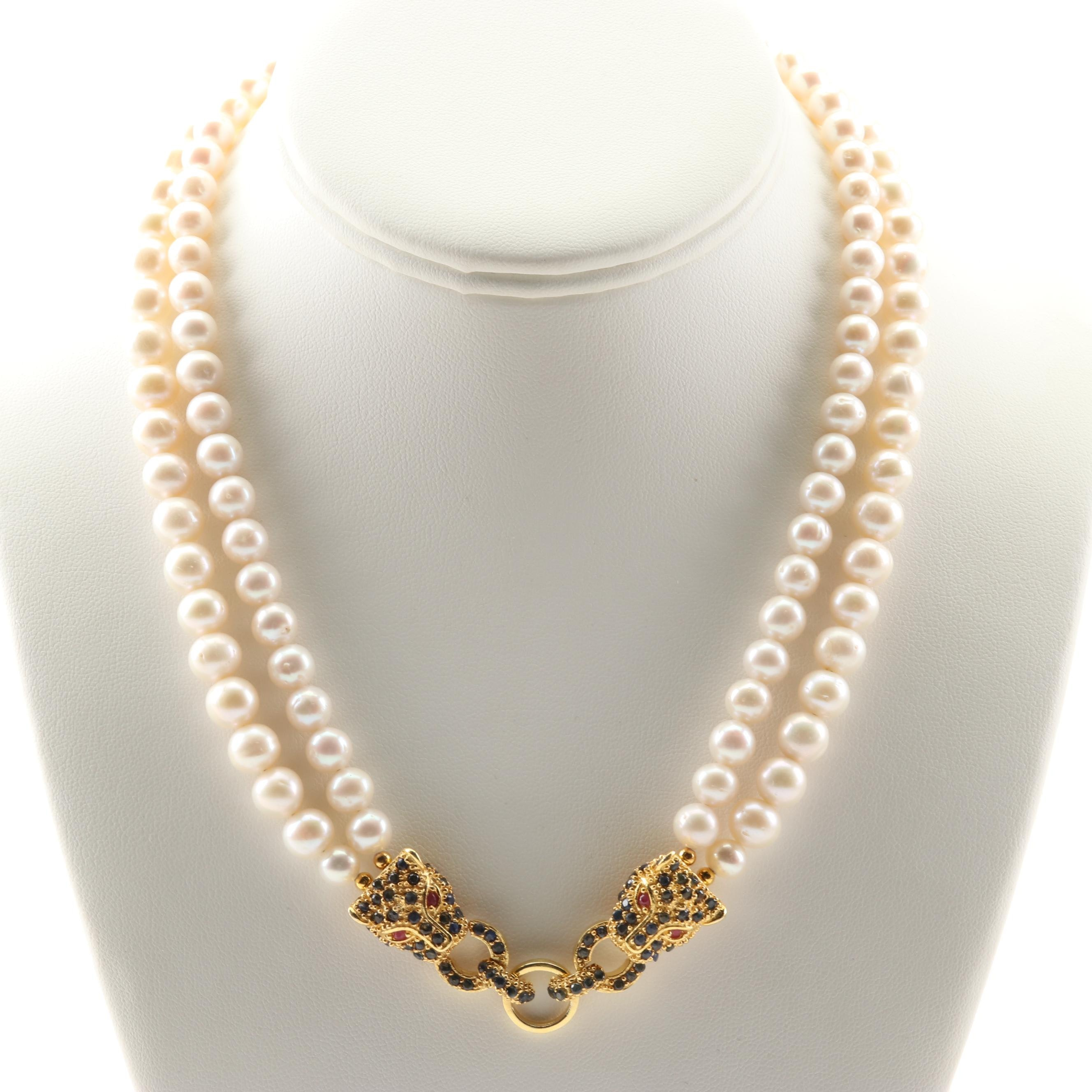 Sterling Silver Double Strand Freshwater Pearl 3.44 CTW Sapphire Ruby Necklace