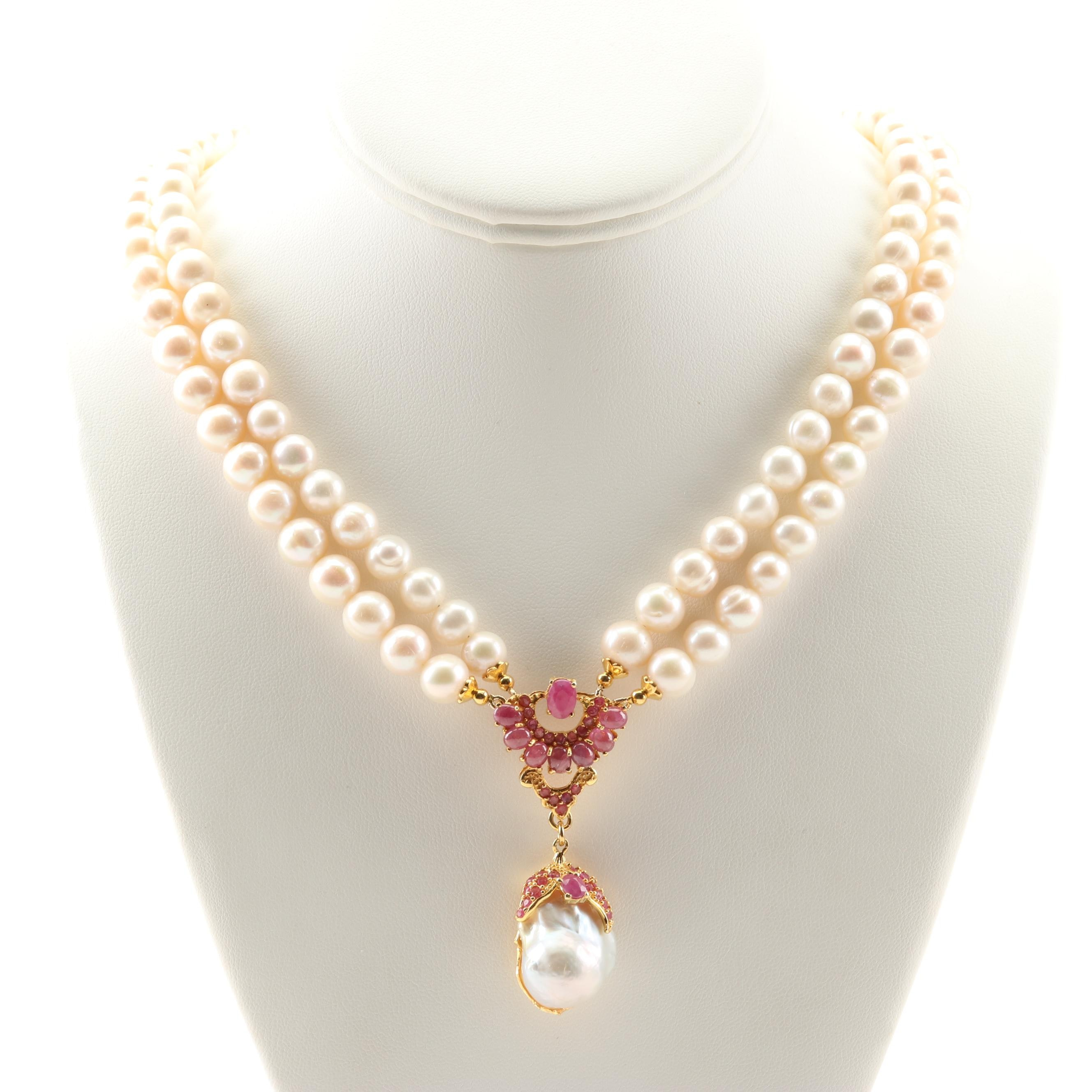 Sterling Silver Freshwater Pearl 6.21 CTW Ruby Necklace With Baroque Pearl Drop