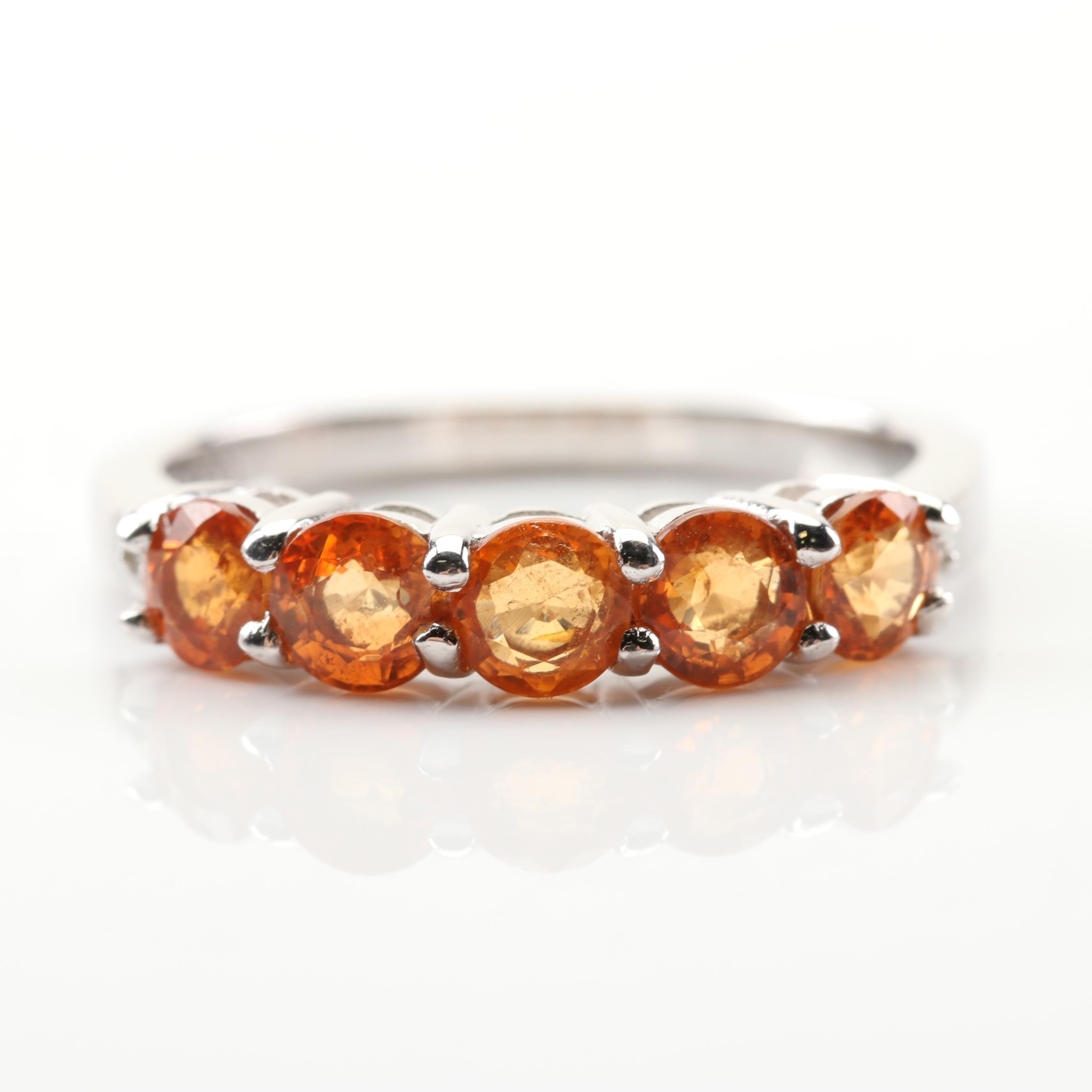 Sterling Silver 1.65 CTW Garnet and Diamond Ring