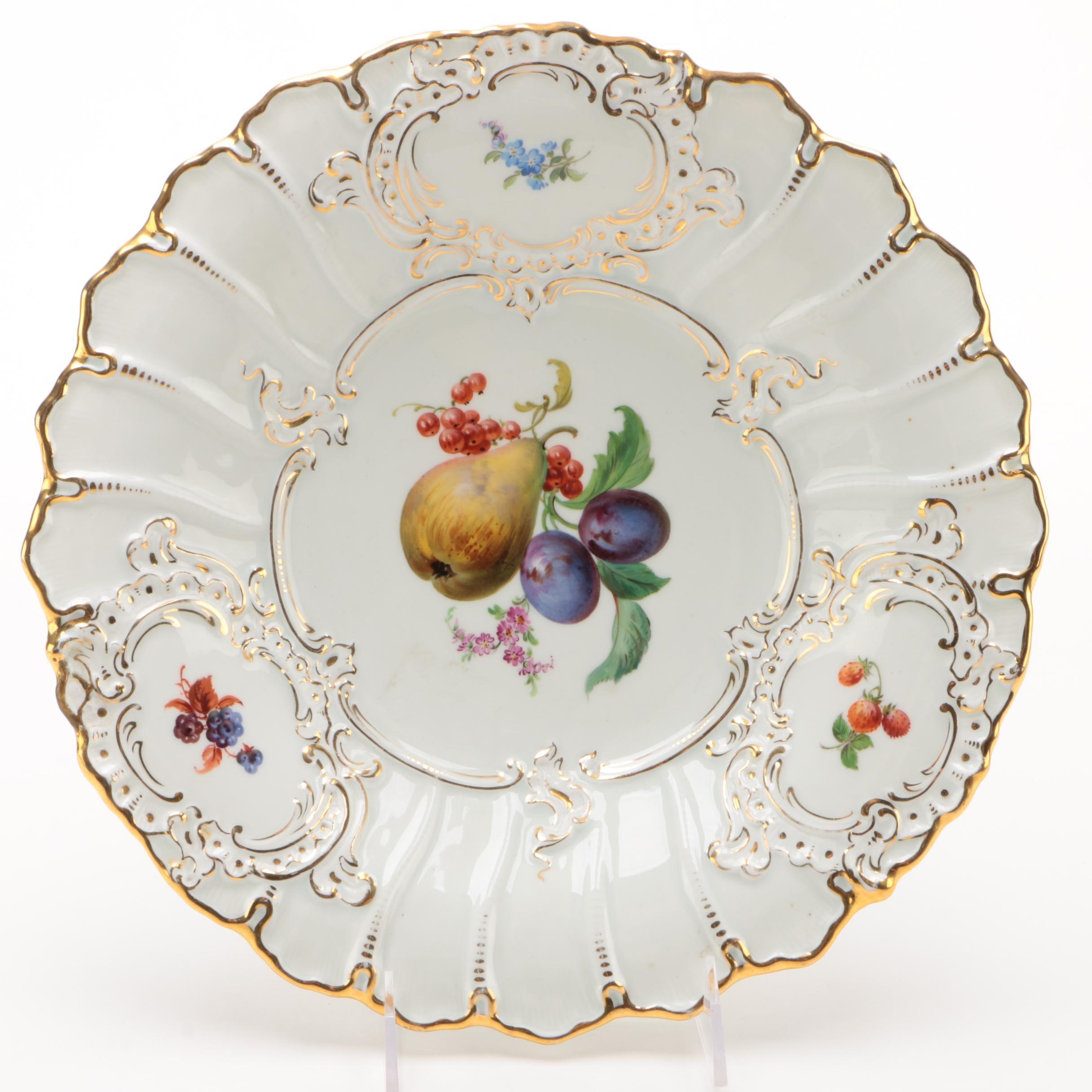 Meissen Porcelain Serving Bowl with Gilt Rim, Circa 1934–1945