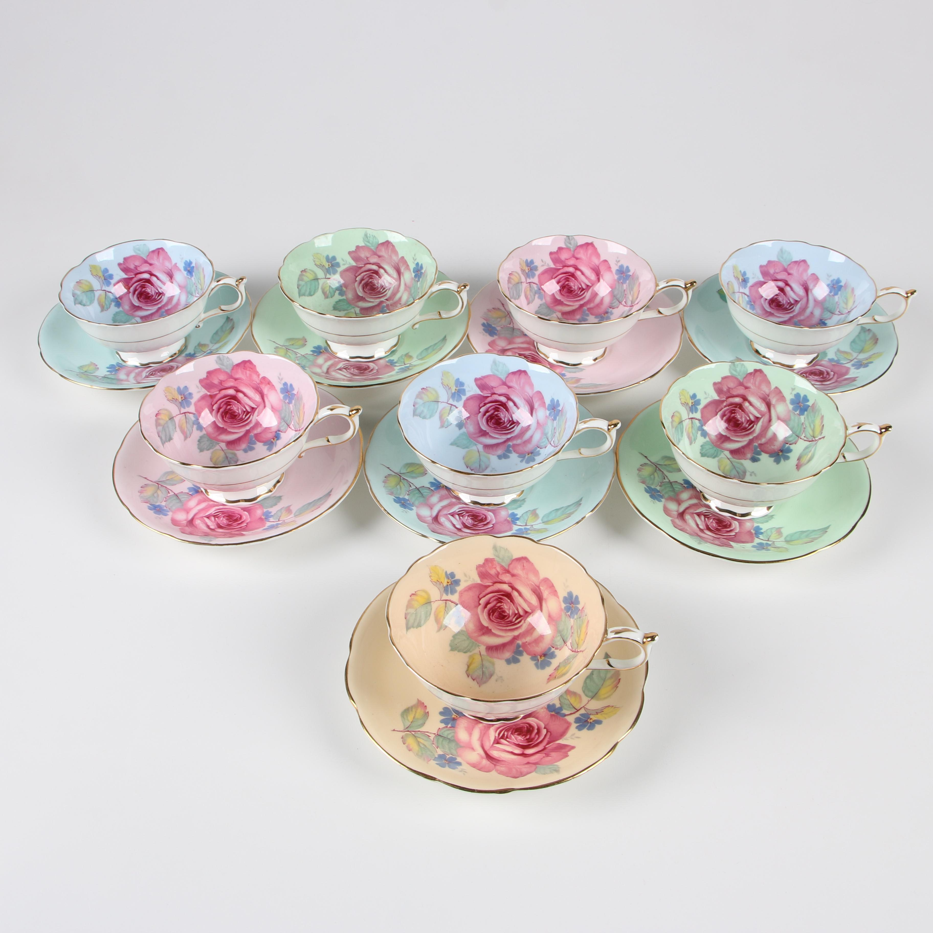 Paragon Floral Pattern Bone China Teacups and Saucers