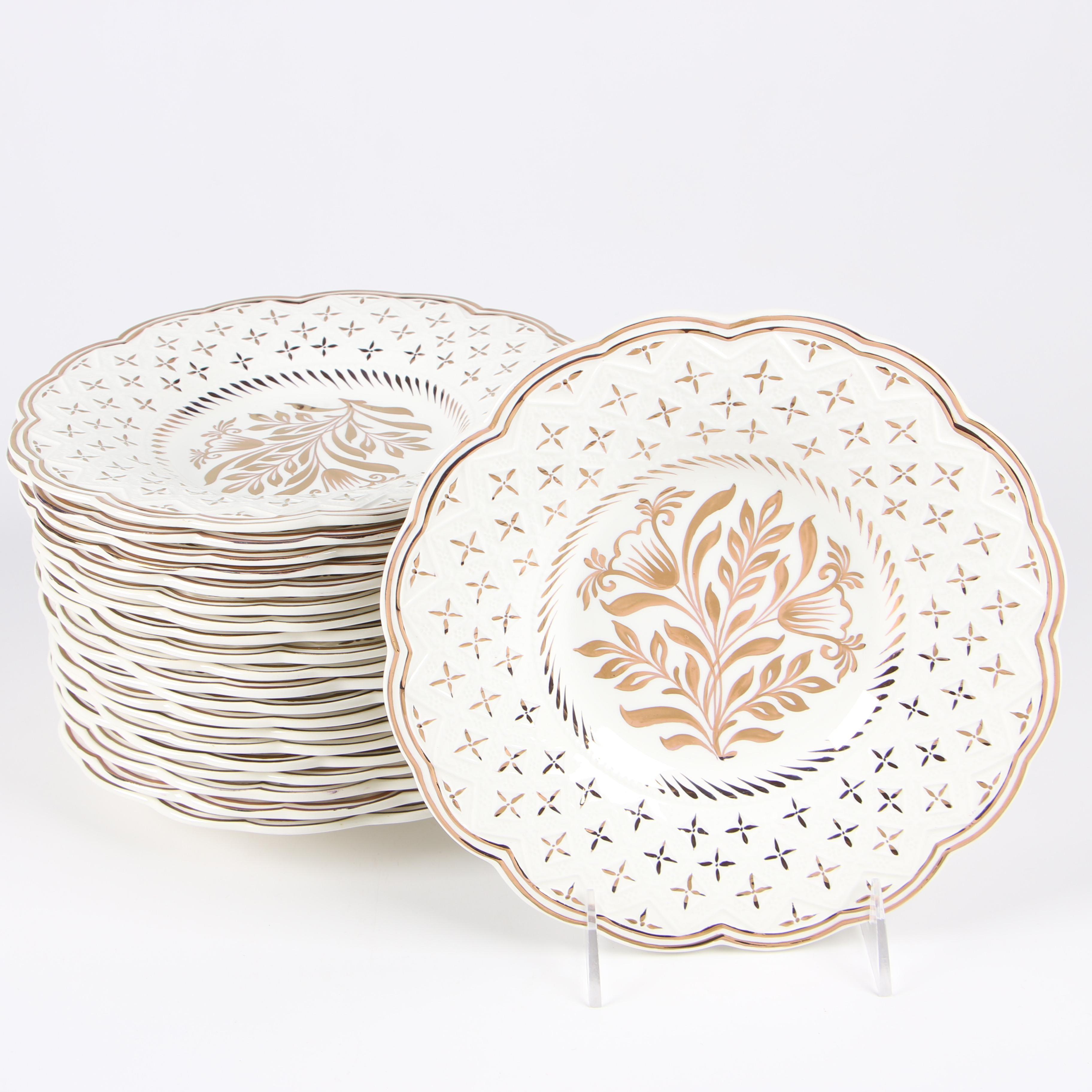Wedgwood Gilded Bone China Salad Plates