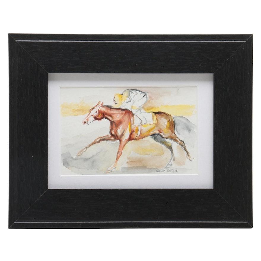 Daniela Vasileva Watercolor Painting of Horse and Jockey