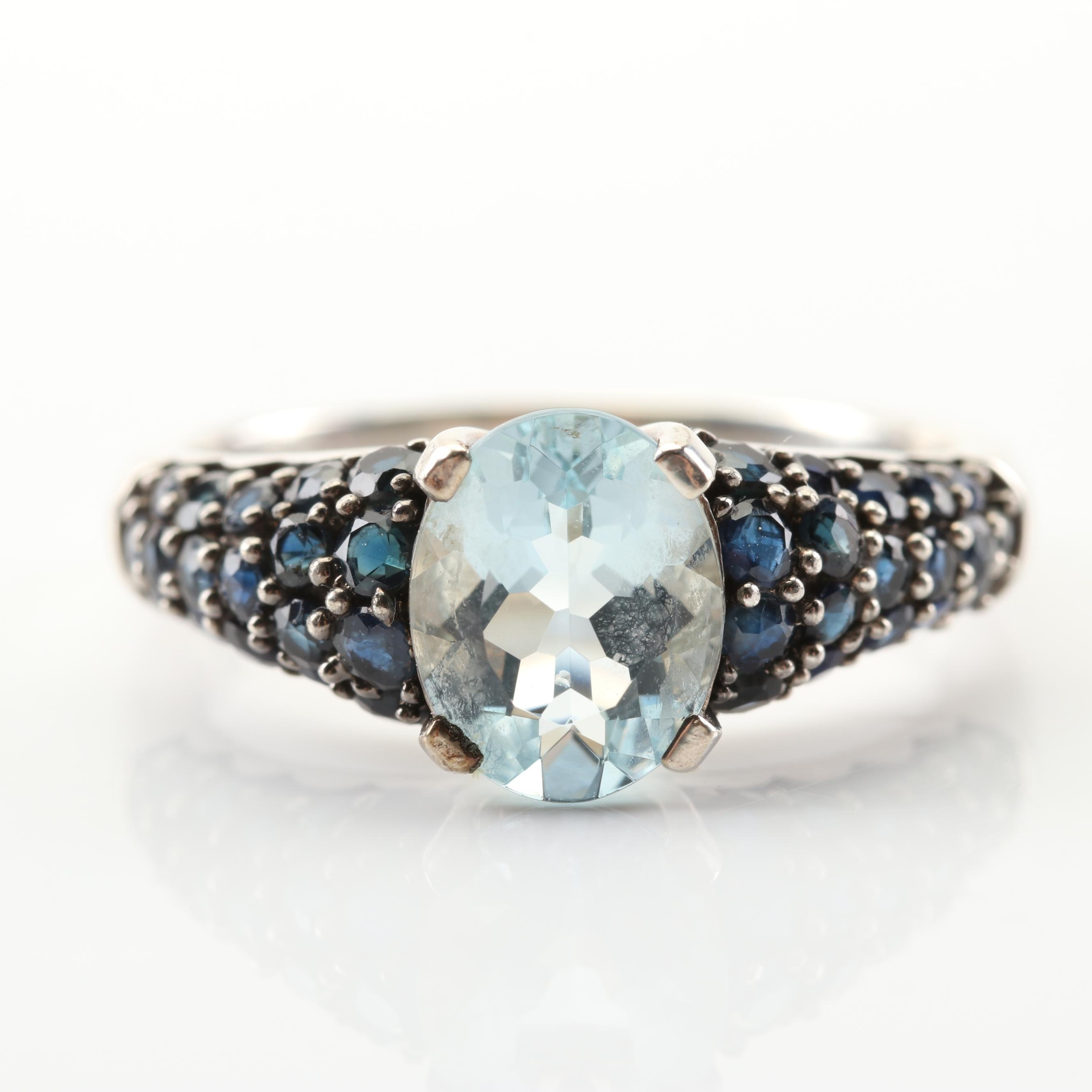 Sterling Silver 1.65 CT Aquamarine 1.26 CTW Sapphire Ring