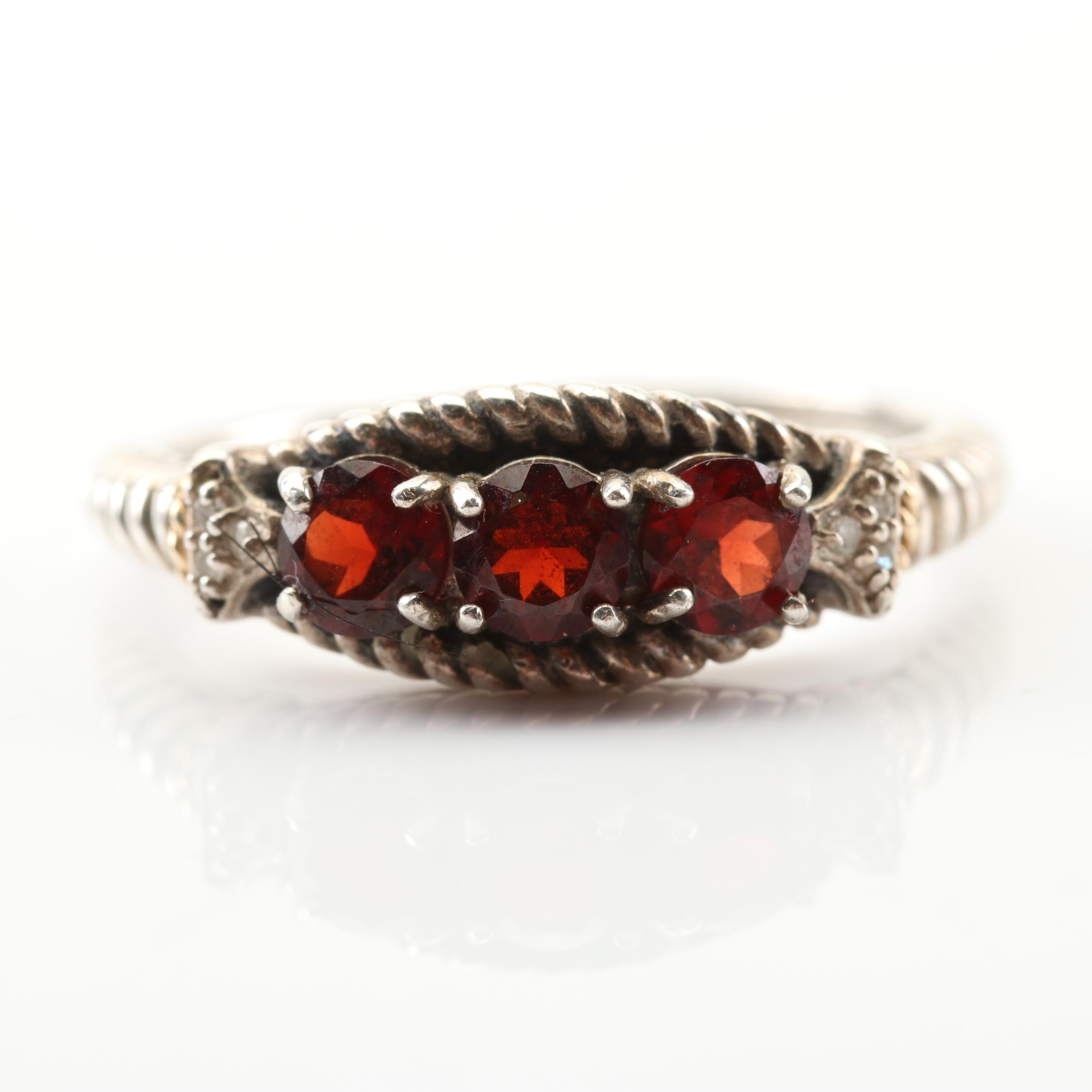 Sterling Silver 1.02 CTW Garnet and Diamond Rope Ring