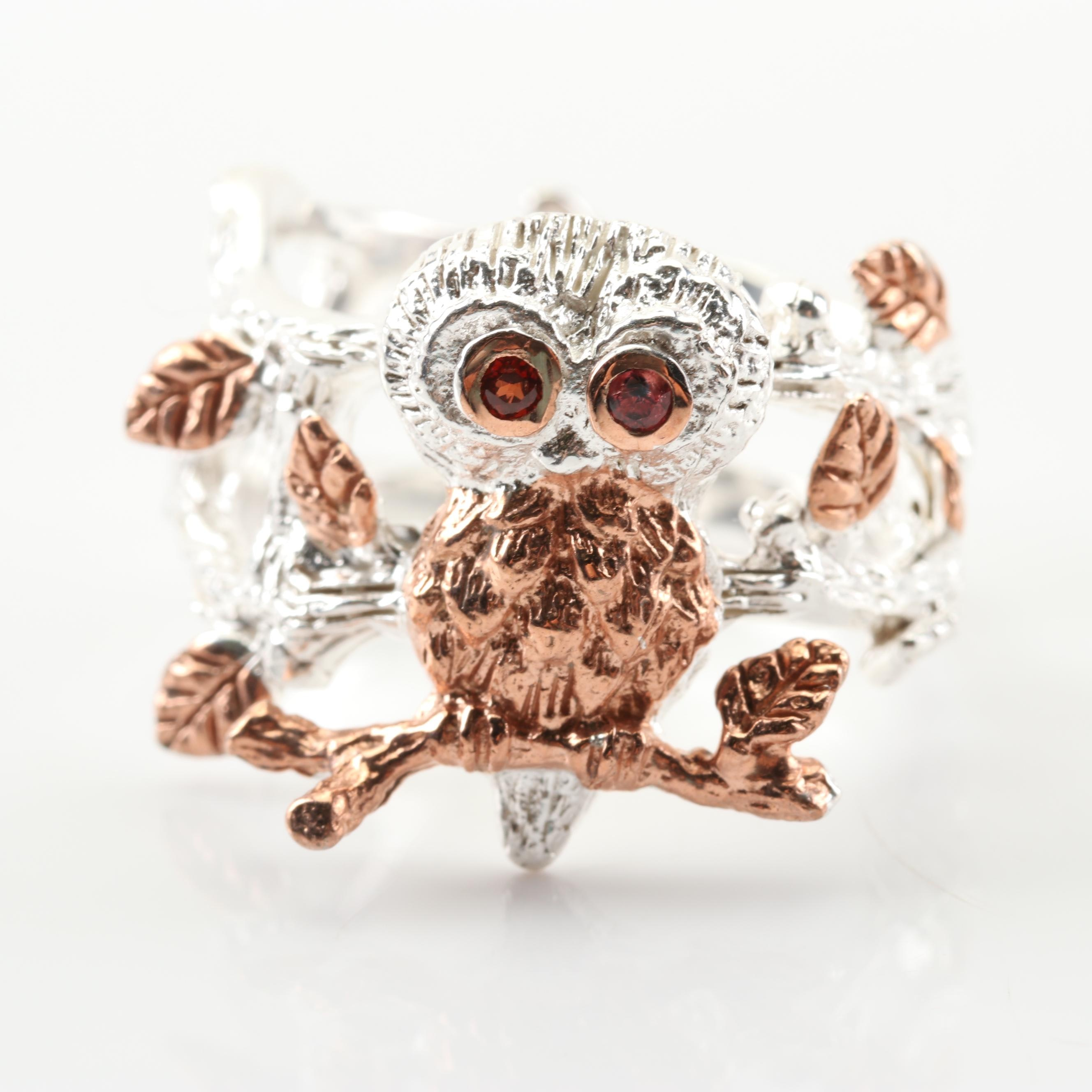 Sterling Silver Garnet Owl Ring with Rose Gold Wash