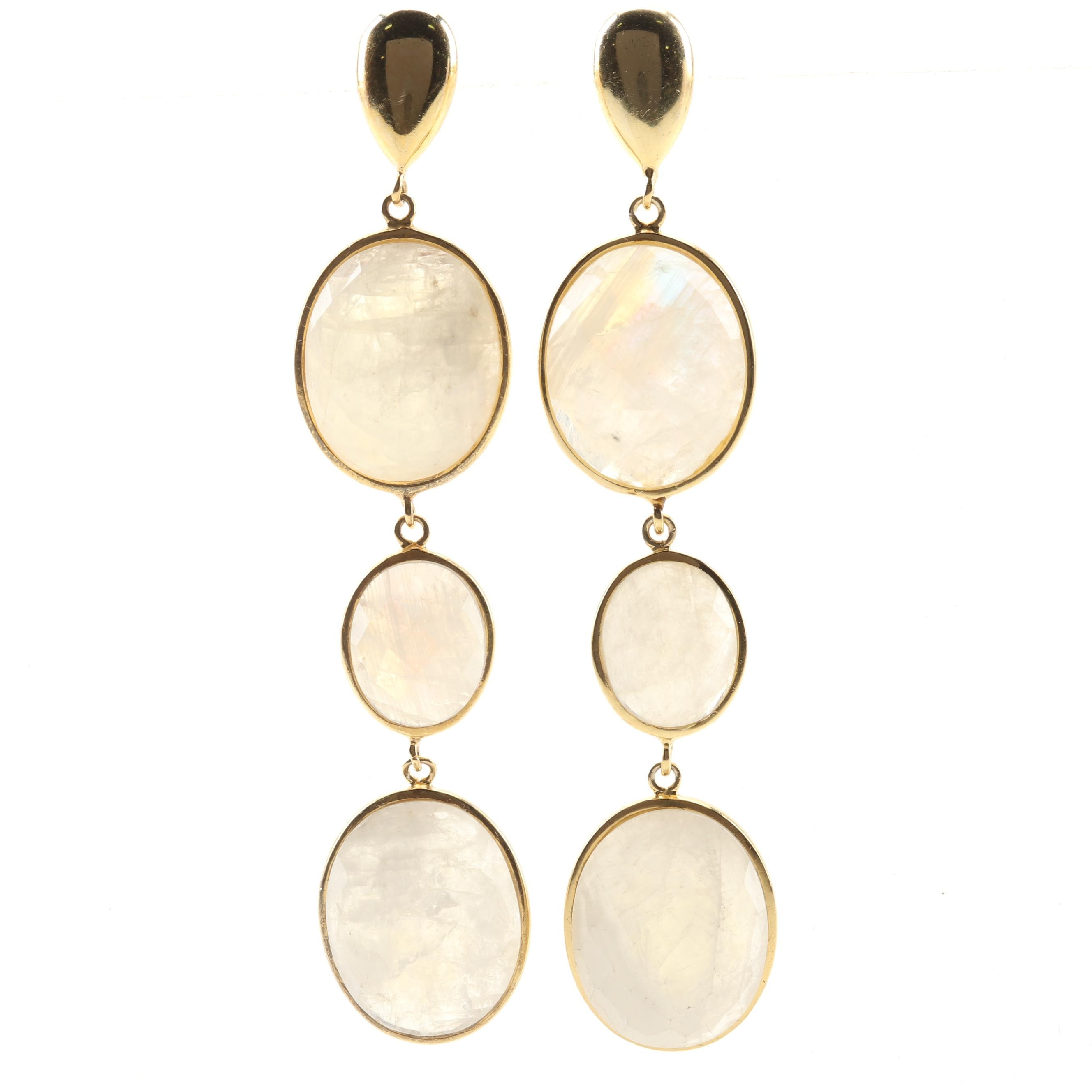Sterling Silver Bezel Set 36.85 CTW Moonstone Dangle Earrings With a Gold Wash