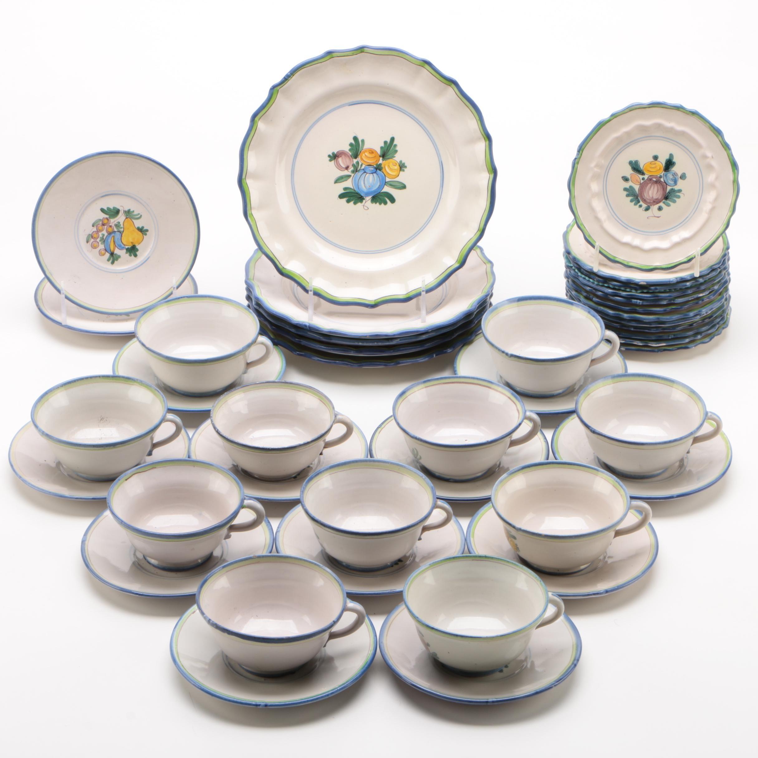 Cantagalli Italian Maiolica Dinnerware Pieces with Fruit Motif, Mid-Century