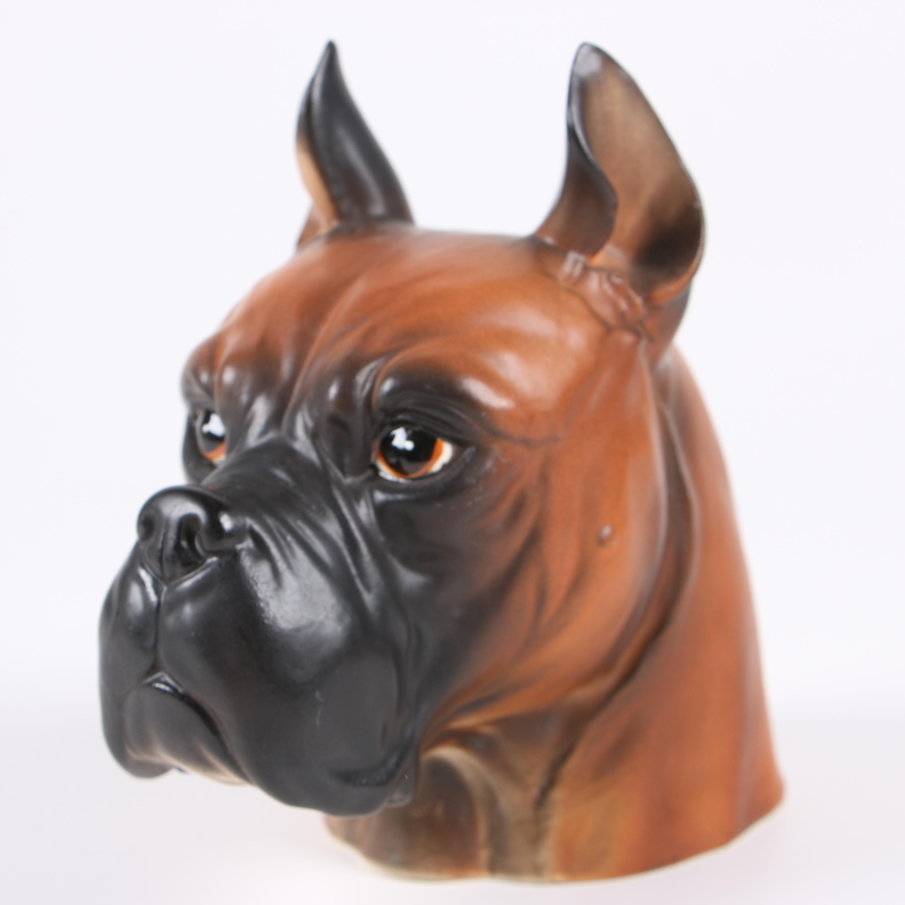 Boxer Dog Figural Ceramic Planter
