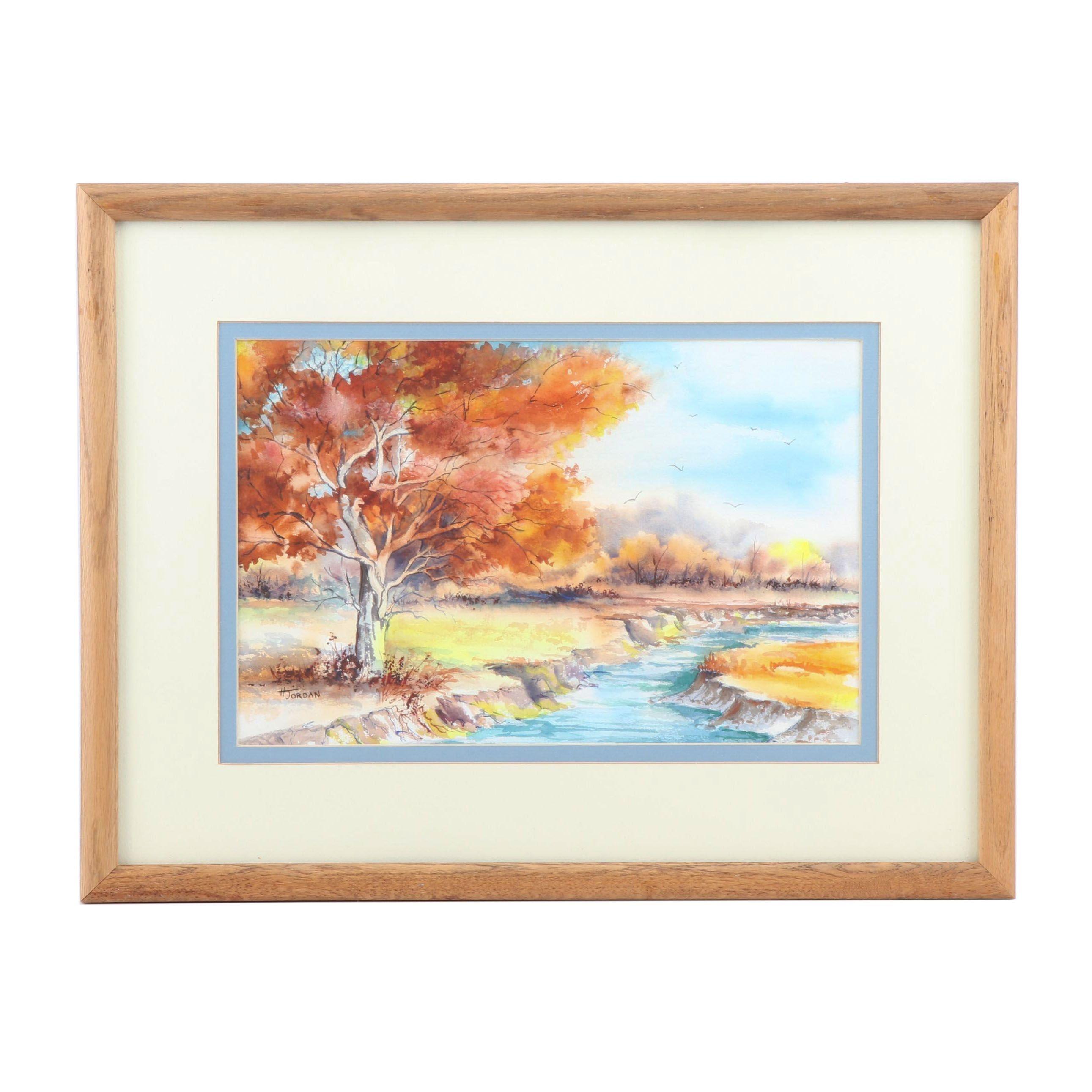 H. Jordan Watercolor Painting of an Autumn Landscape