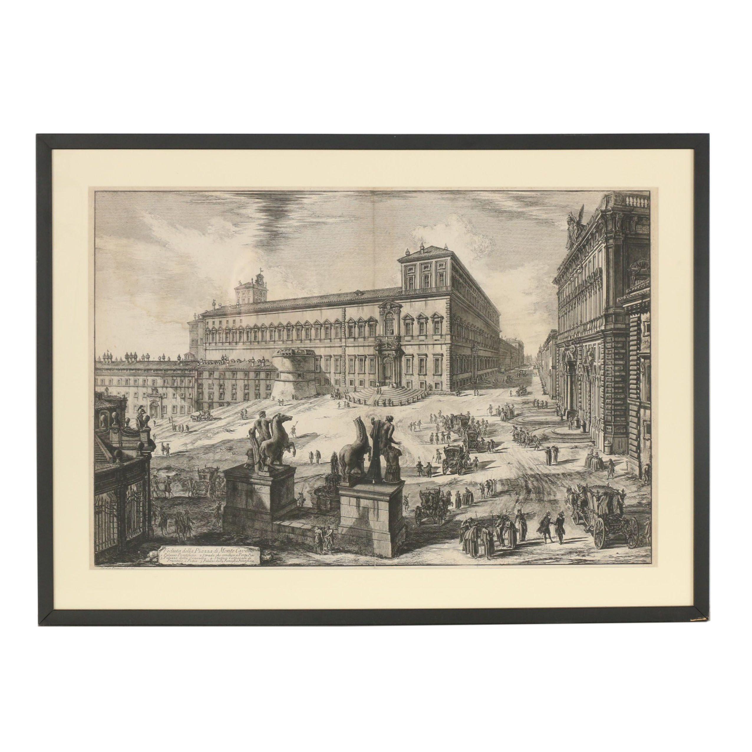 """Giovanni Piranesi First State Etching """"Veduta della Piazza di Monte Cavallo"""""""