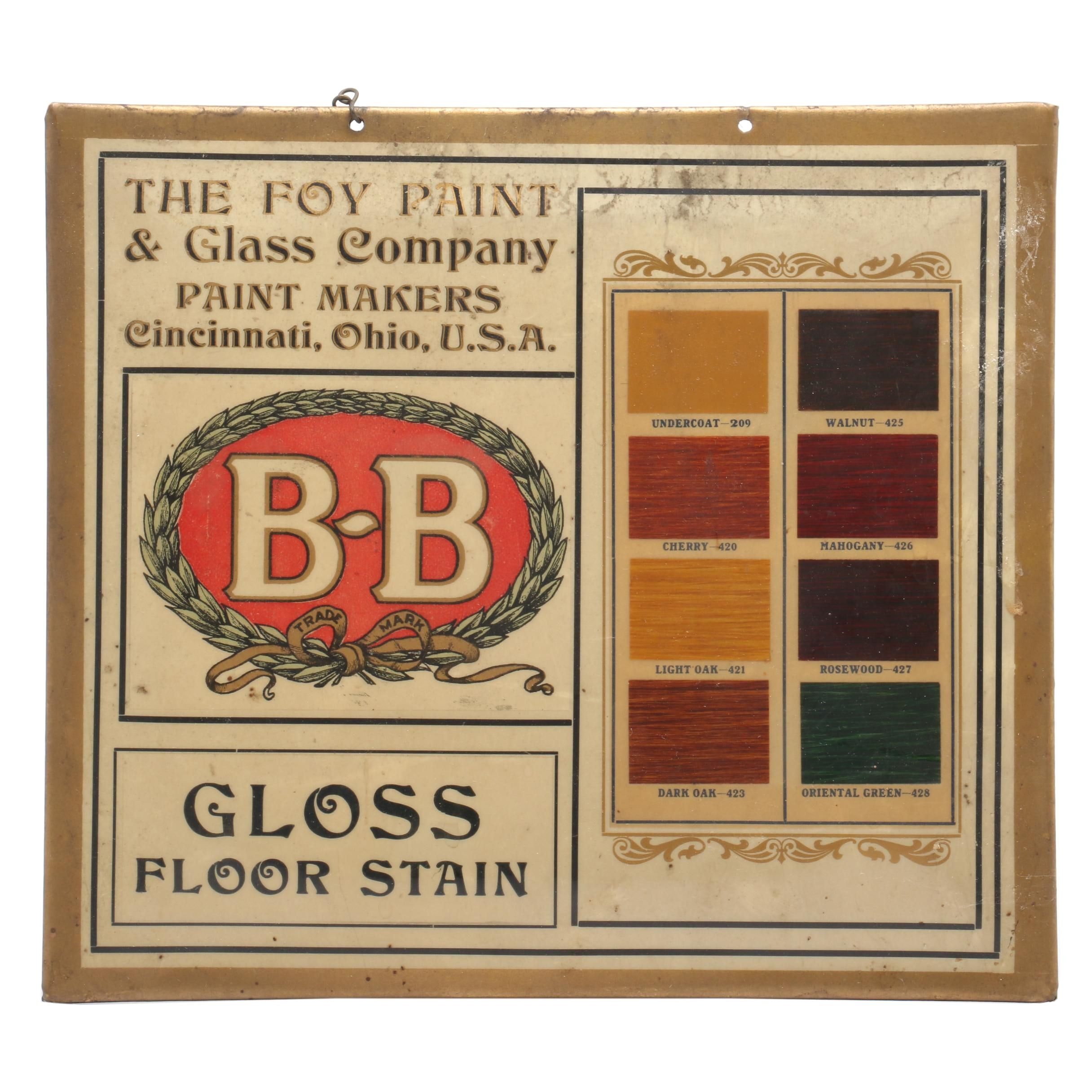 The Foy Paint & Glass Company Gloss Floor Stain Advertising Sign
