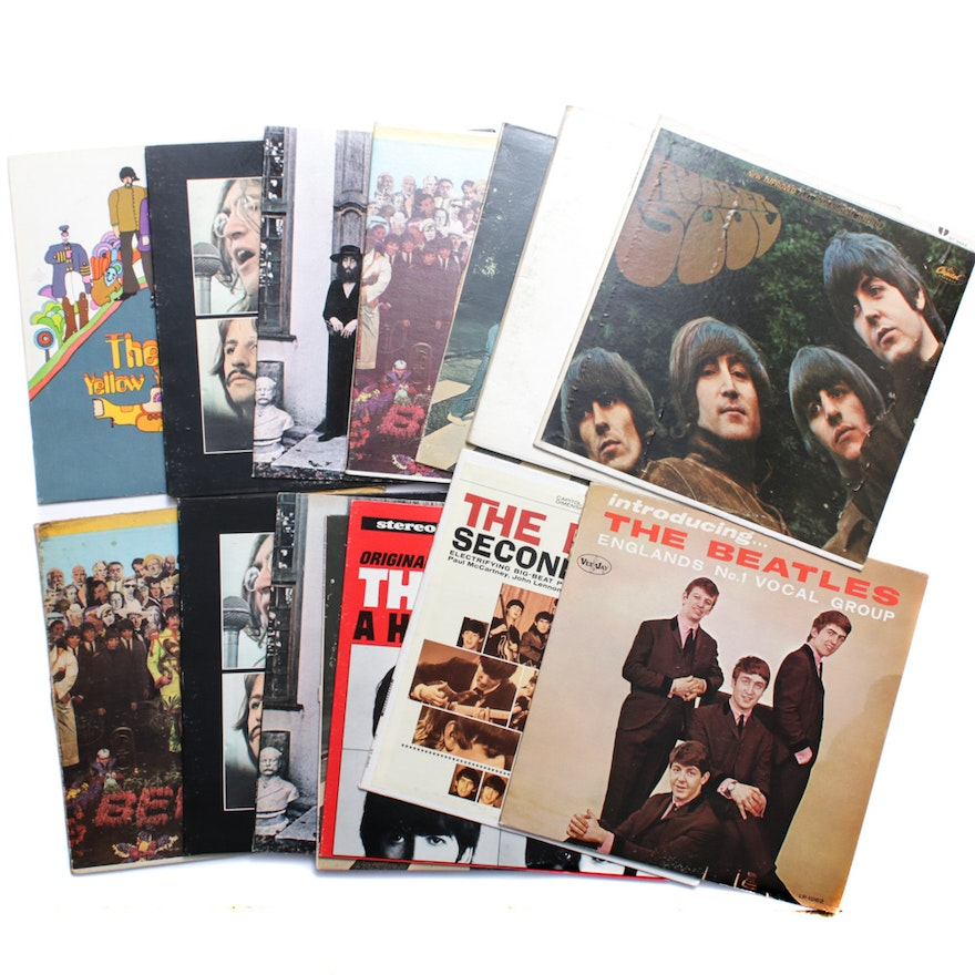 Vinyl Beatles Records Featuring Their First Album, Vintage
