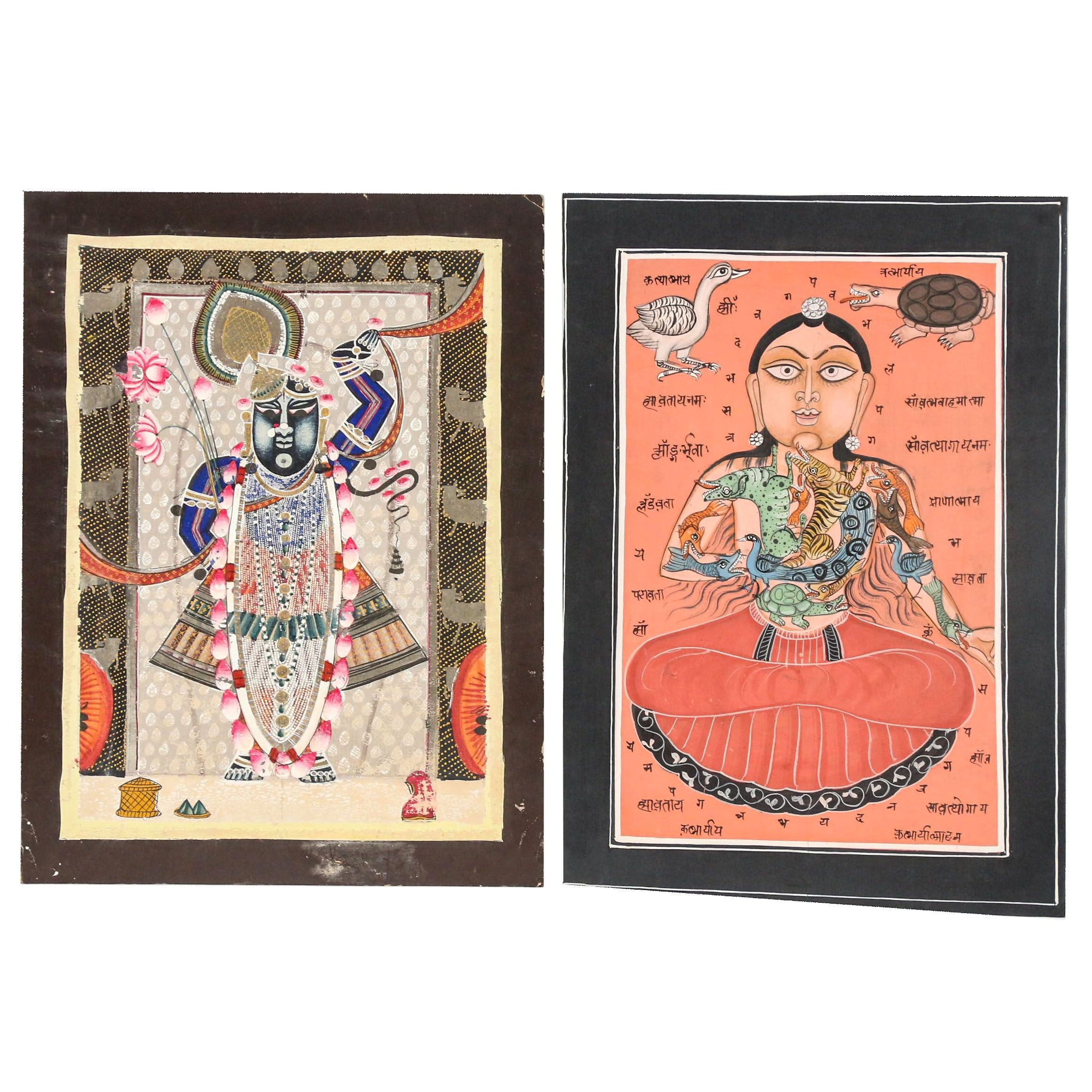 Indian Tantric Embellished Gouache Paintings