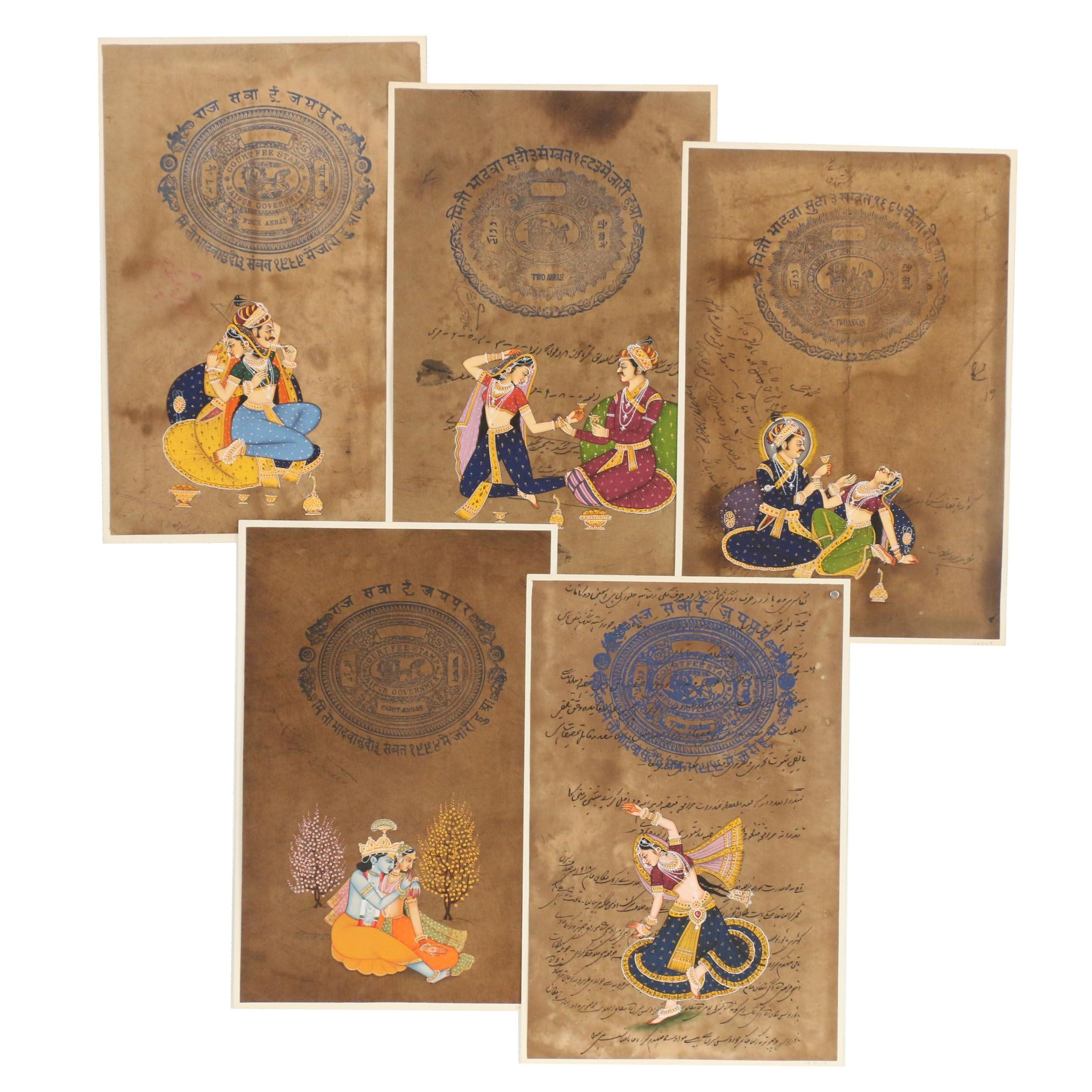 Mughal Style Goauche Paintings with Jaipur Revenue Stamps