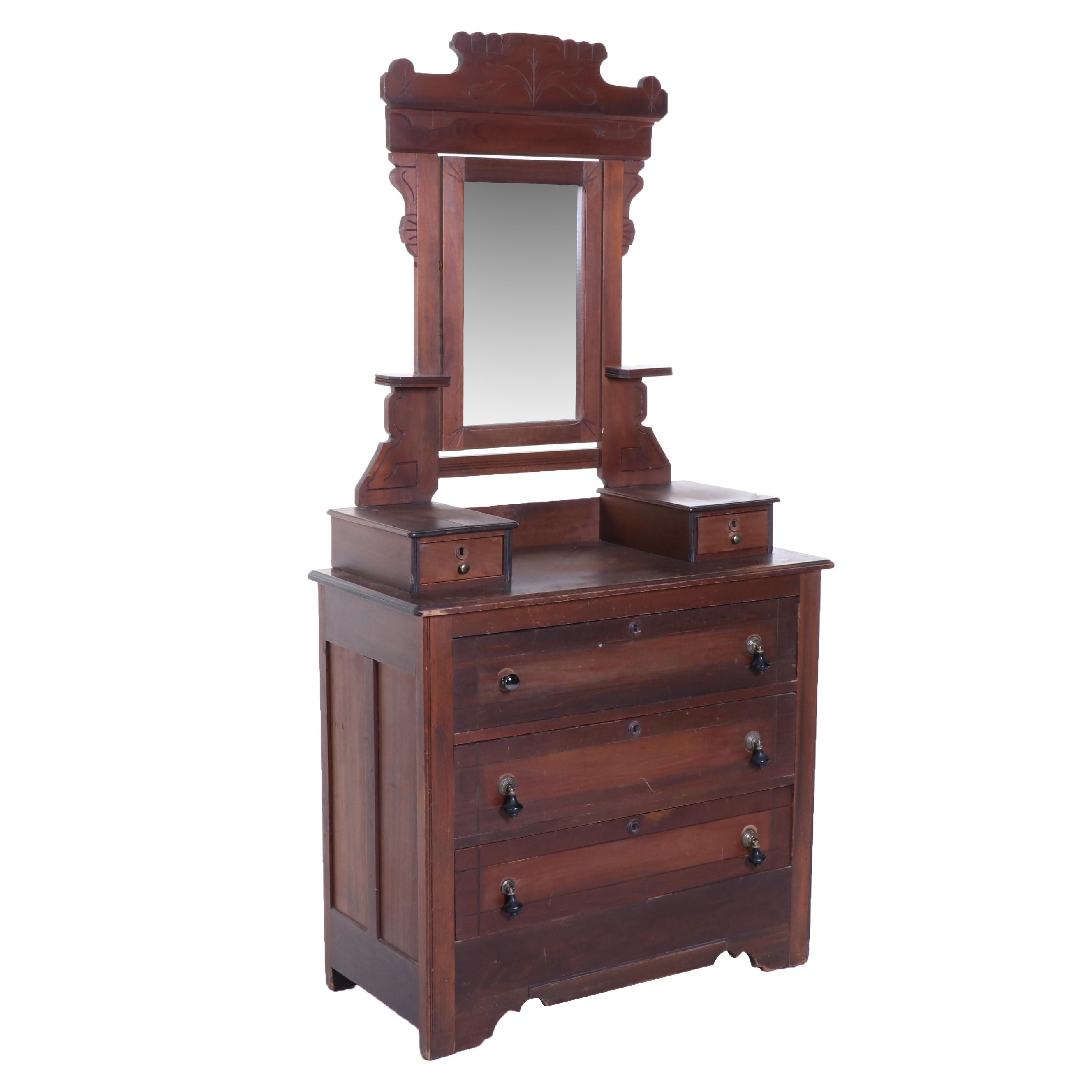 Victorian, Eastlake Style Walnut Dressing Table with Mirror, Late 19th Century