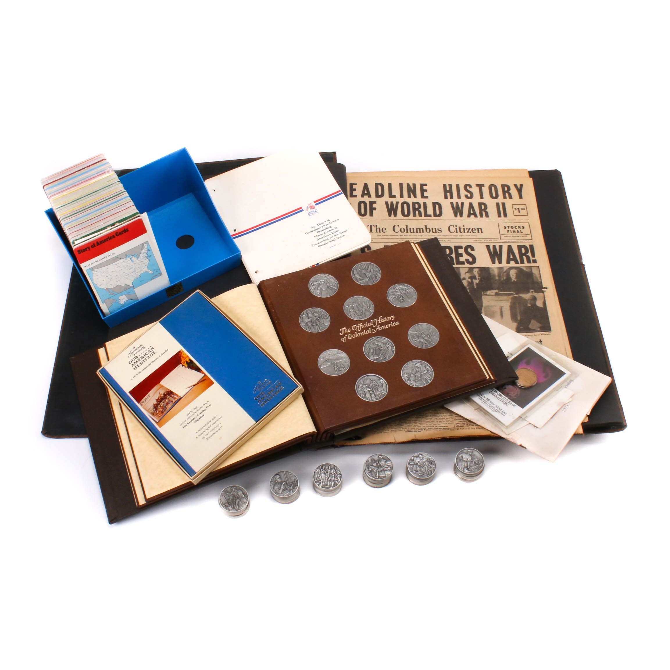 US History Collection with Franklin Mint Pewter Medallions